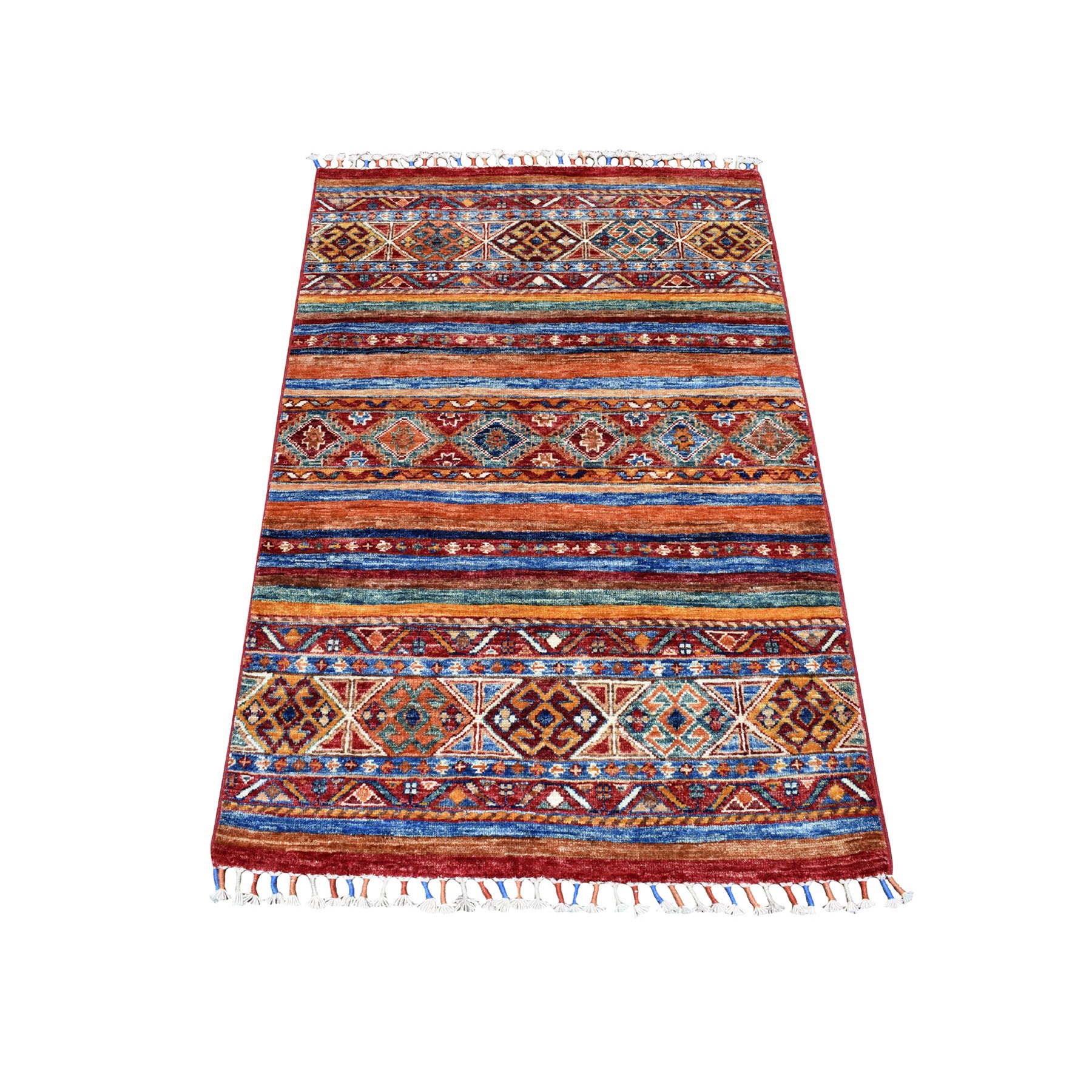 "2'9""X4'2"" Khorjin Design Colorful Super Kazak Pure Wool Hand Knotted Oriental Rug moaeb6ab"
