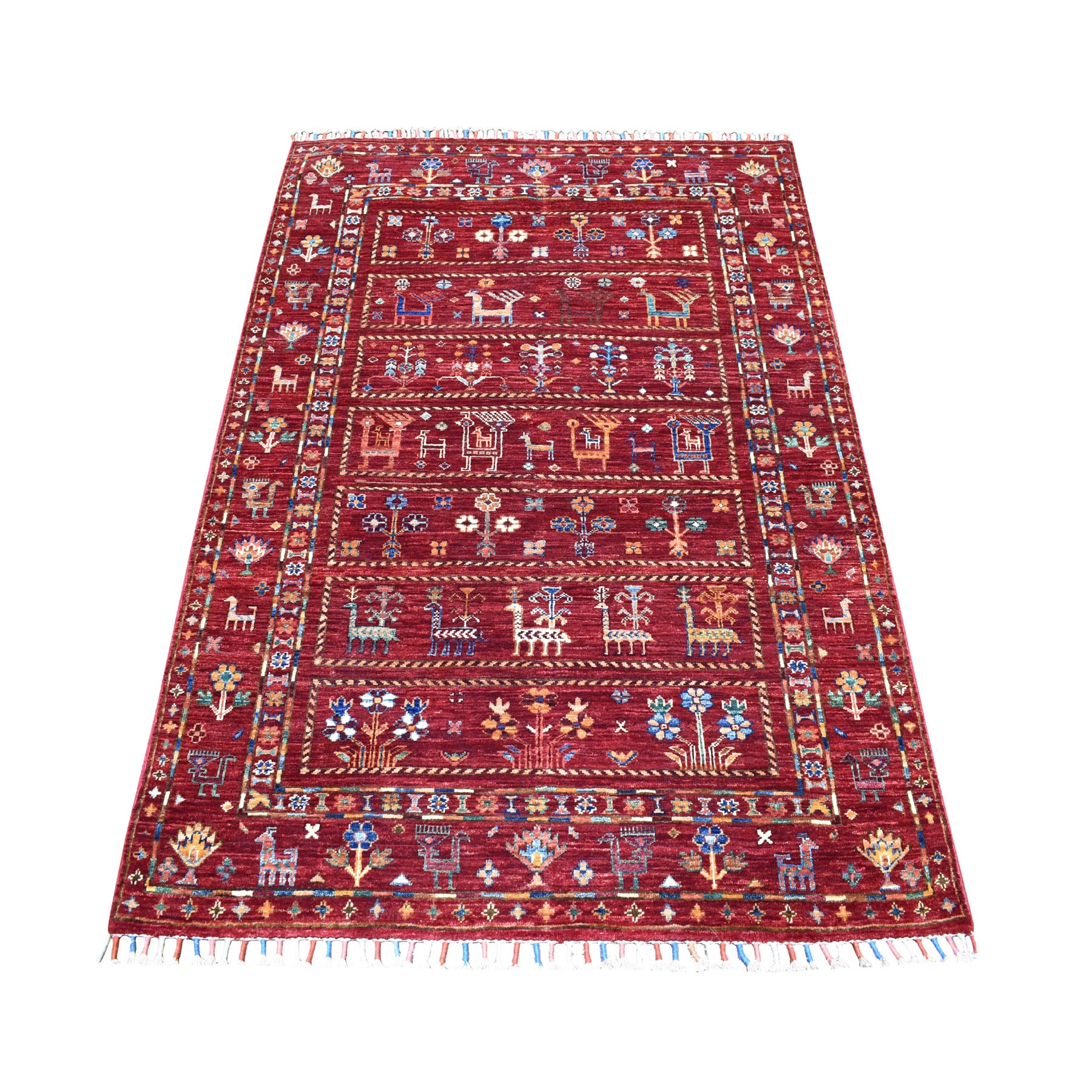 "4'X5'6"" Khorjin Design Colorful Super Kazak Pure Wool Hand Knotted Oriental Rug moaeb6ad"
