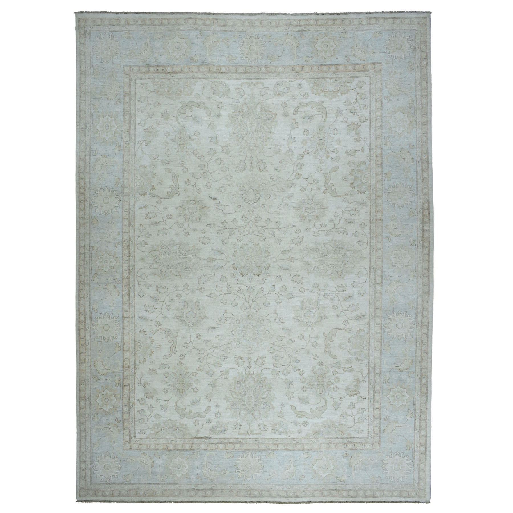 """10'1""""X13'7"""" White Wash Peshawar Pure Wool Hand Knotted Oriental Rug moaeb6a8"""