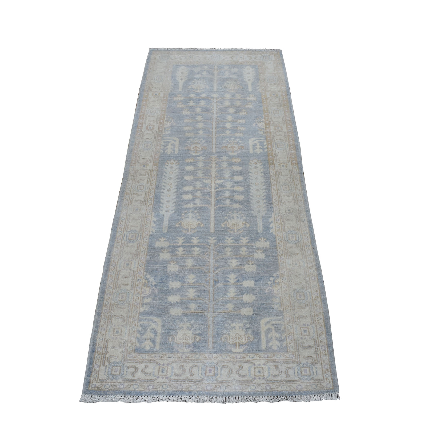 """2'8""""x6'7"""" White Wash Peshawar With Tree Design Pure Wool Hand Knotted Oriental Runner Rug 52620"""