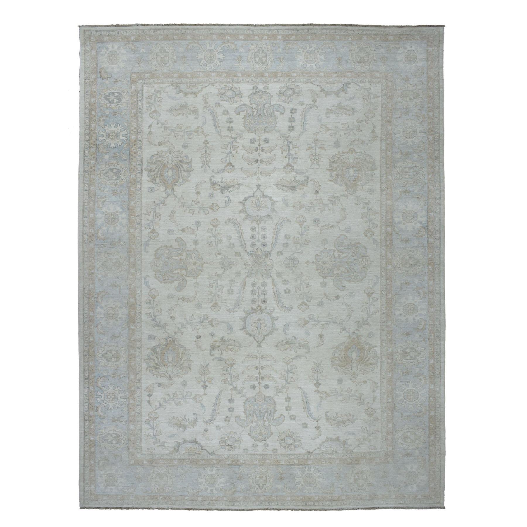 "10'X13'10"" White Wash Peshawar Pure Wool Hand Knotted Oriental Rug moaeb6ba"