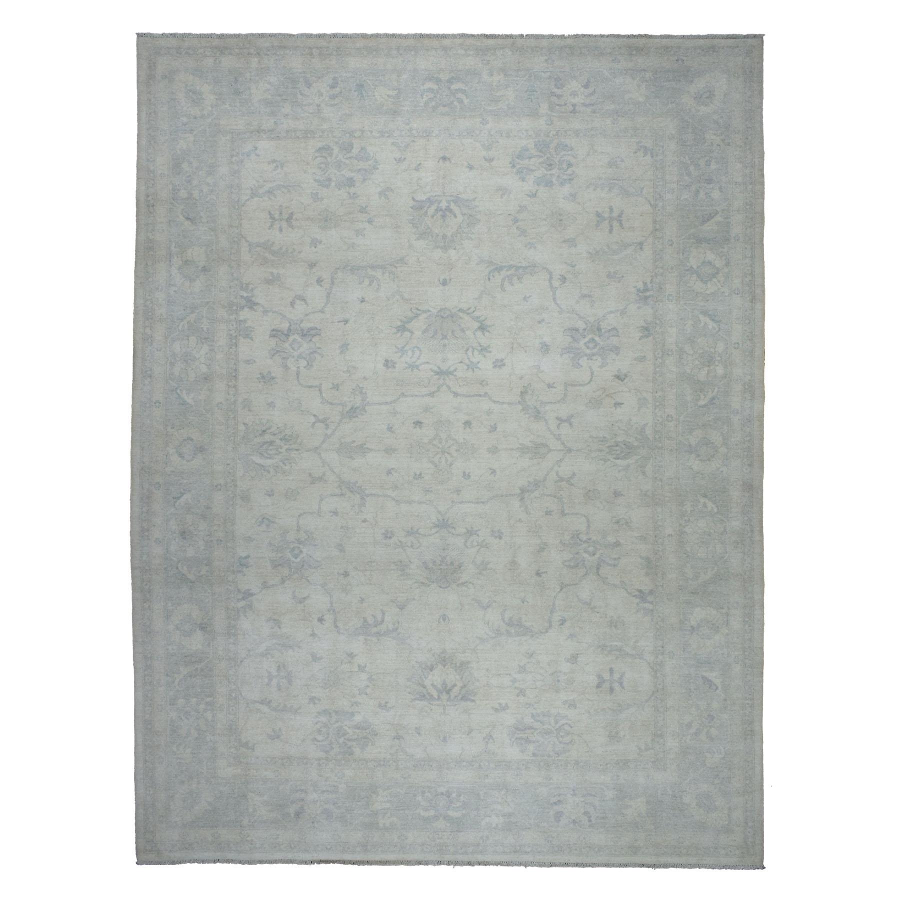 "10'X13'7"" White Wash Peshawar Pure Wool Hand Knotted Oriental Rug moaeb6bb"