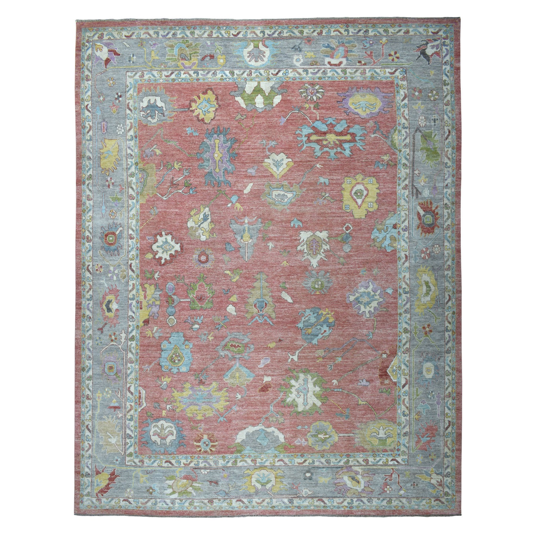 "12'X14'9"" Oversized Salmon Angora Oushak Pure Wool Hand Knotted Oriental Rug moaeb6bd"