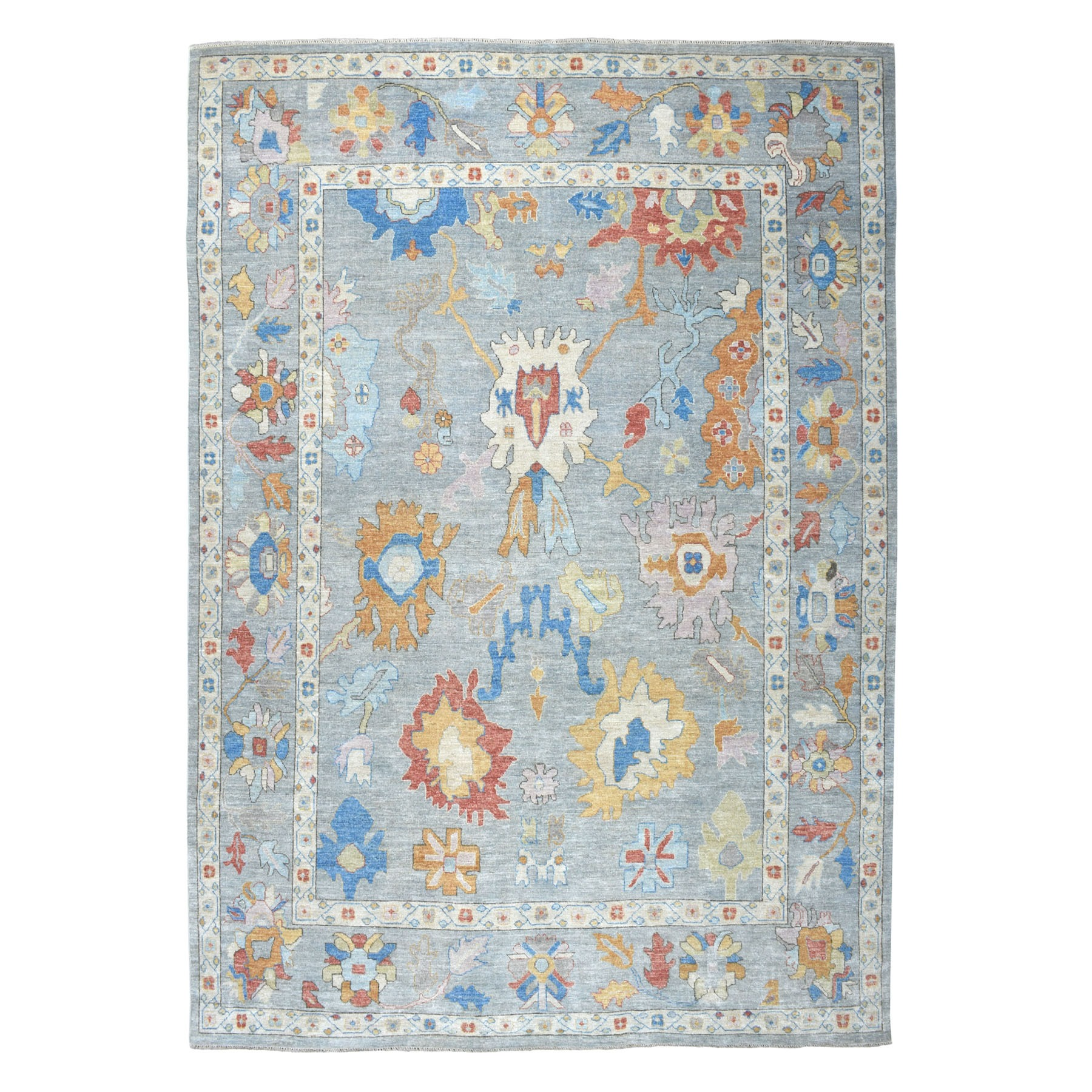 "9'10""x13'7"" Gray Angora Oushak Pure Wool Hand Knotted Oriental Rug"