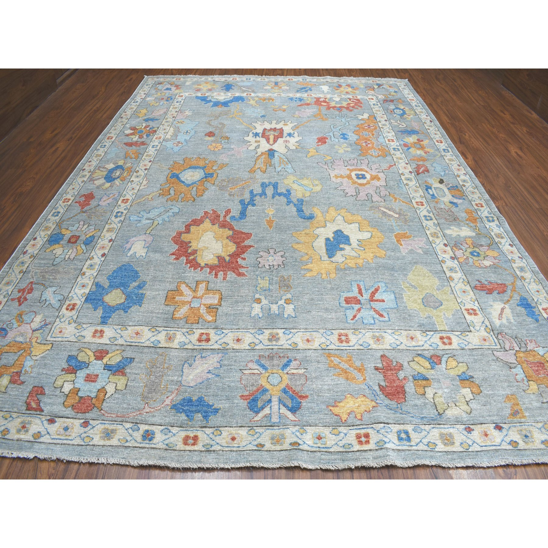 """9'10""""x13'7"""" Gray Angora Oushak Pure Wool Hand Knotted Oriental Rug"""