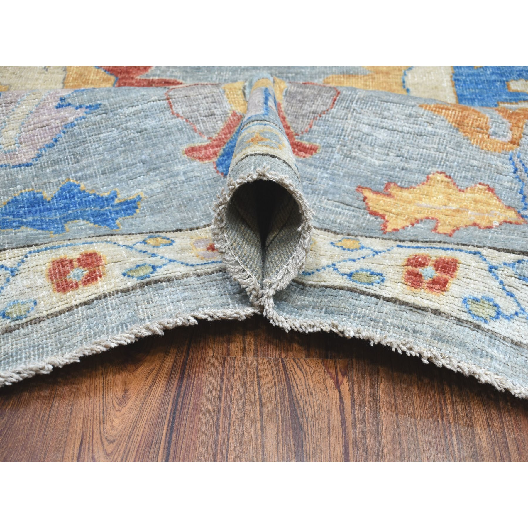 9-10 x13-7  Gray Angora Oushak Pure Wool Hand Knotted Oriental Rug
