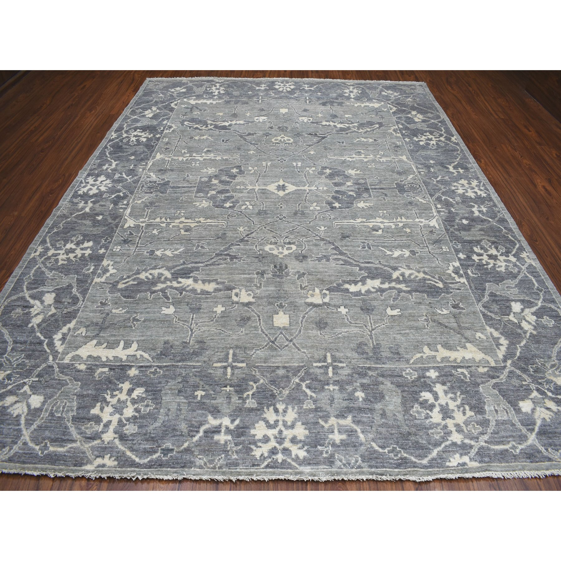 "9'x11'7"" Gray Angora Oushak Pure Wool Hand Knotted Oriental Rug"