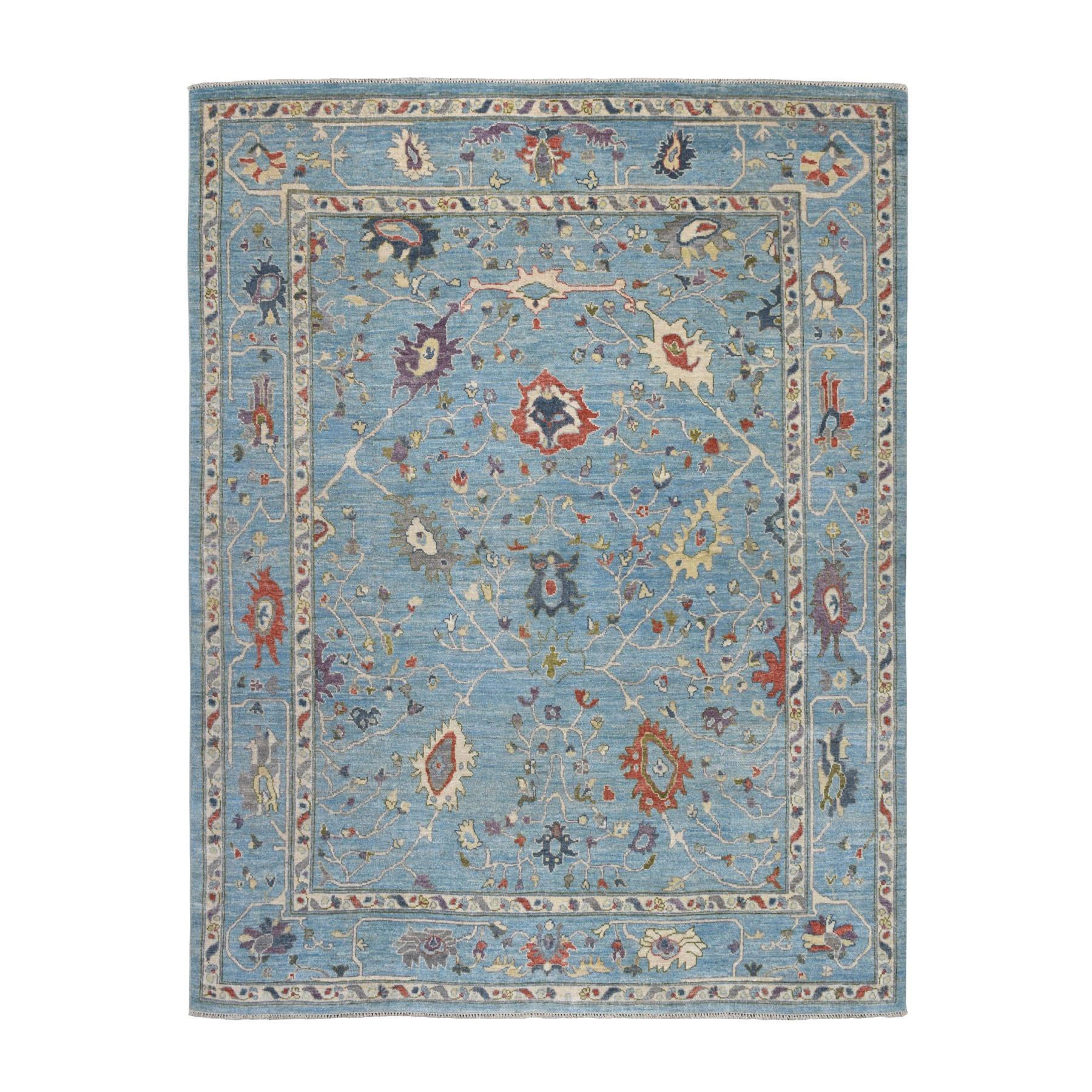 "8'X10'4"" Blue Angora Oushak Hand Knotted Pure Wool Oriental Rug moaeb6c6"