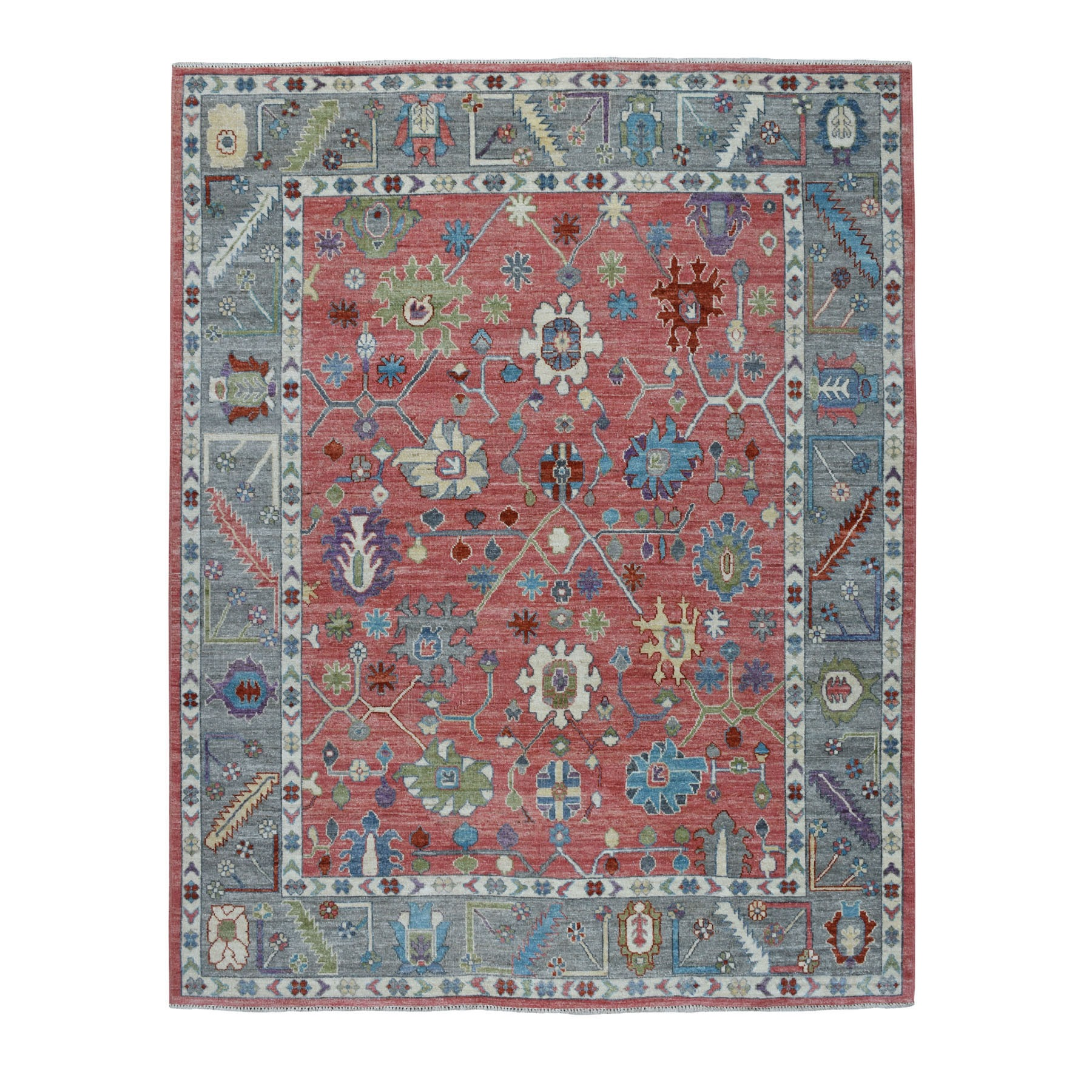 """7'10""""X9'10"""" Coral Angora Oushak Hand Knotted Pure Wool Oriental Rug moaeb6c7"""
