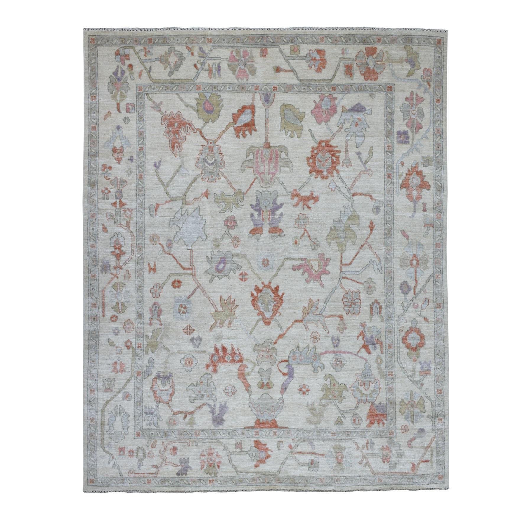"7'8""X9'8"" Ivory Angora Oushak Hand Knotted Pure Wool Oriental Rug moaeb6c8"