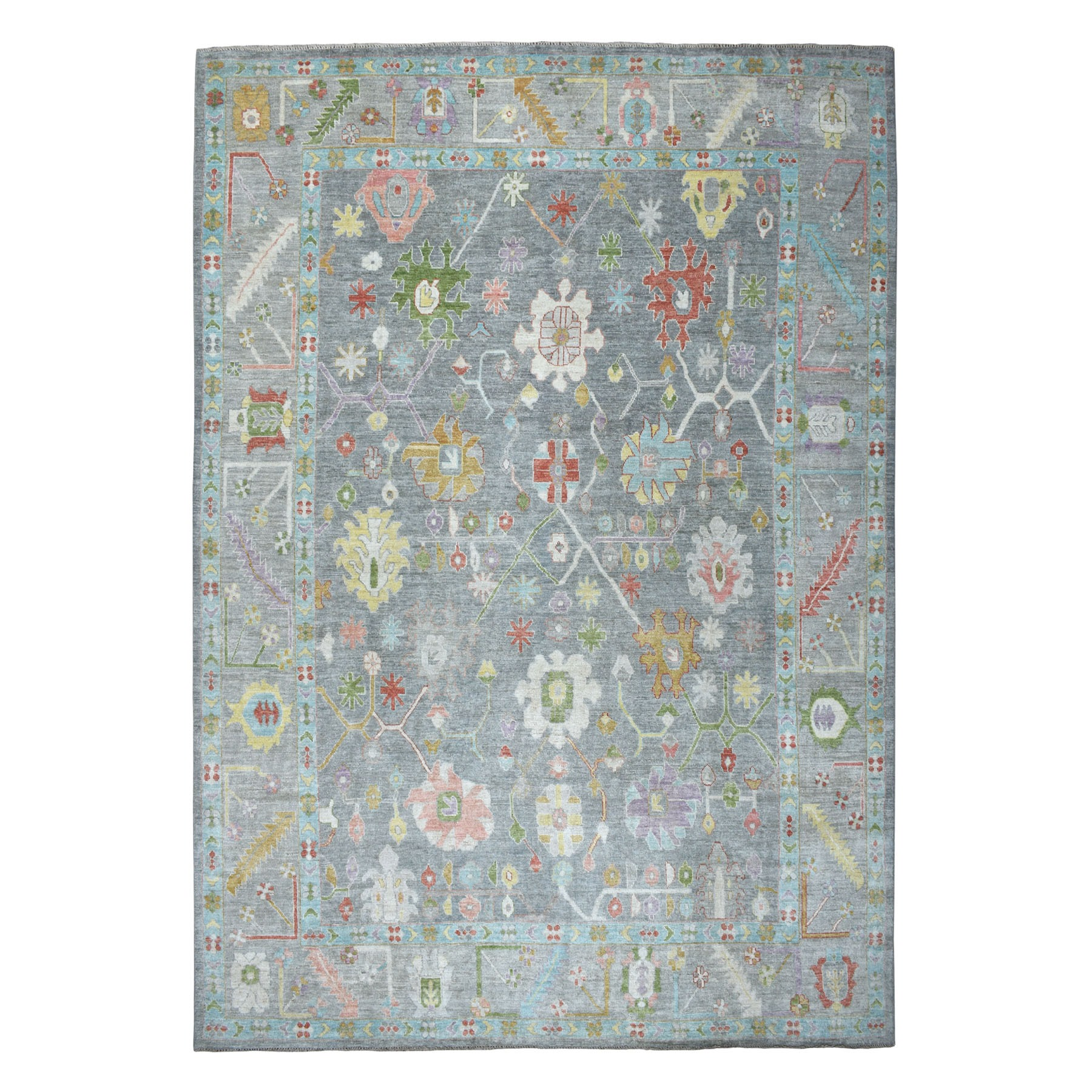 """10'x13'8"""" Gray Angora Oushak Hand Knotted Pure Wool Oriental Rug"""