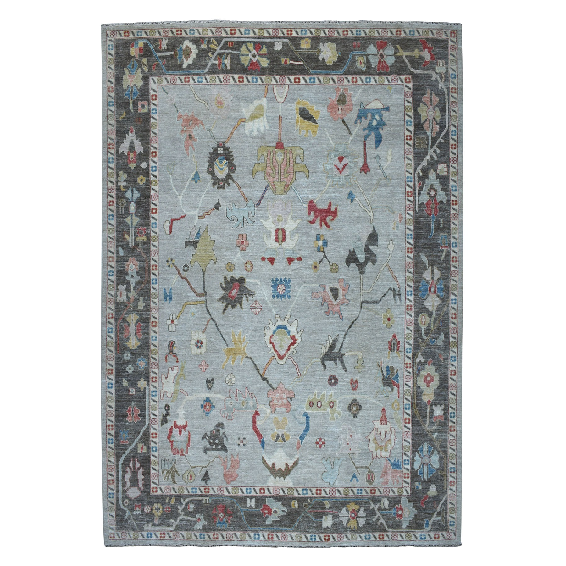 """9'8""""x13'9"""" Gray Angora Oushak Hand Knotted Pure Wool Oriental Rug"""