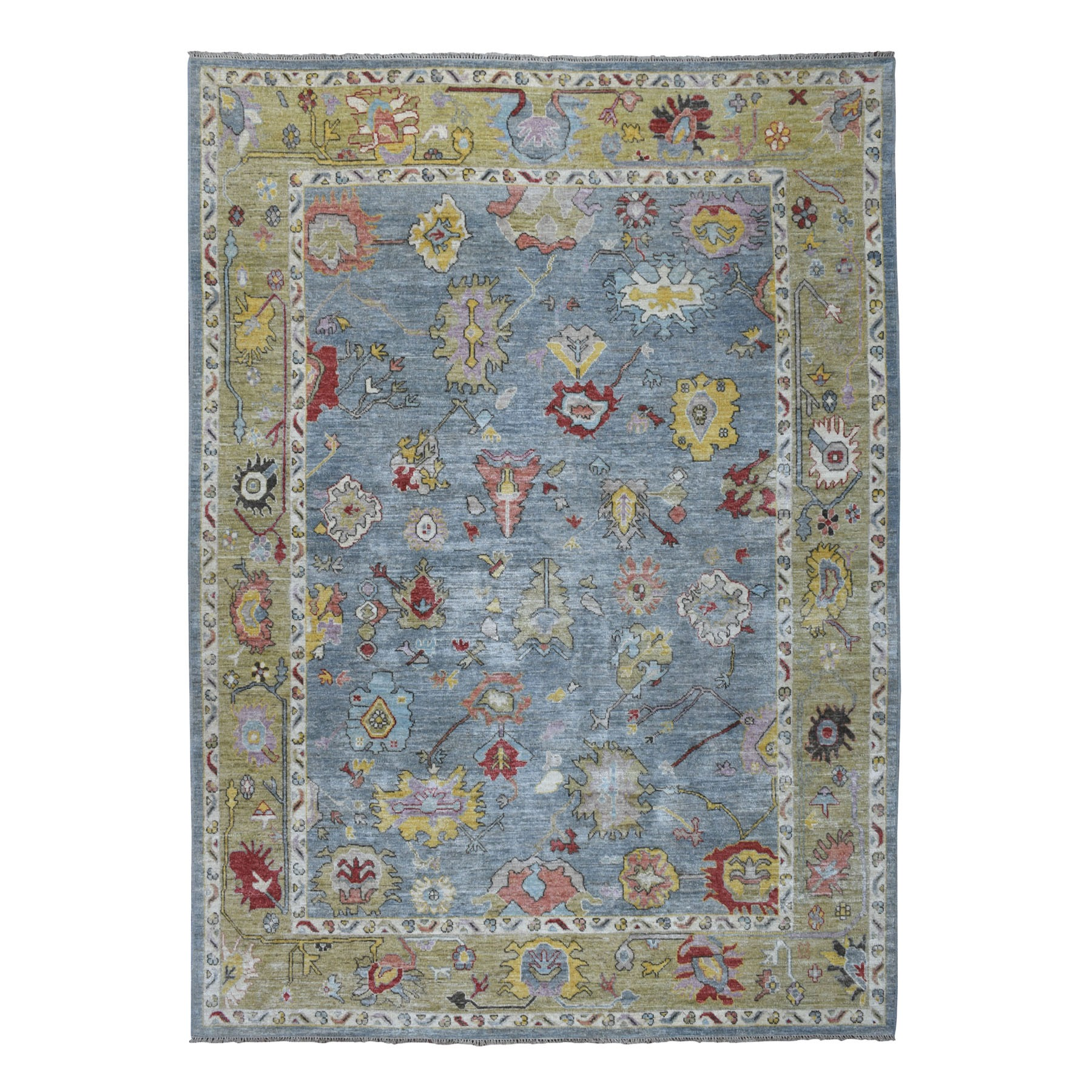 """8'10""""X11'9"""" Gray Angora Oushak Pure Wool Hand Knotted Oriental Rug moaeb6d9"""