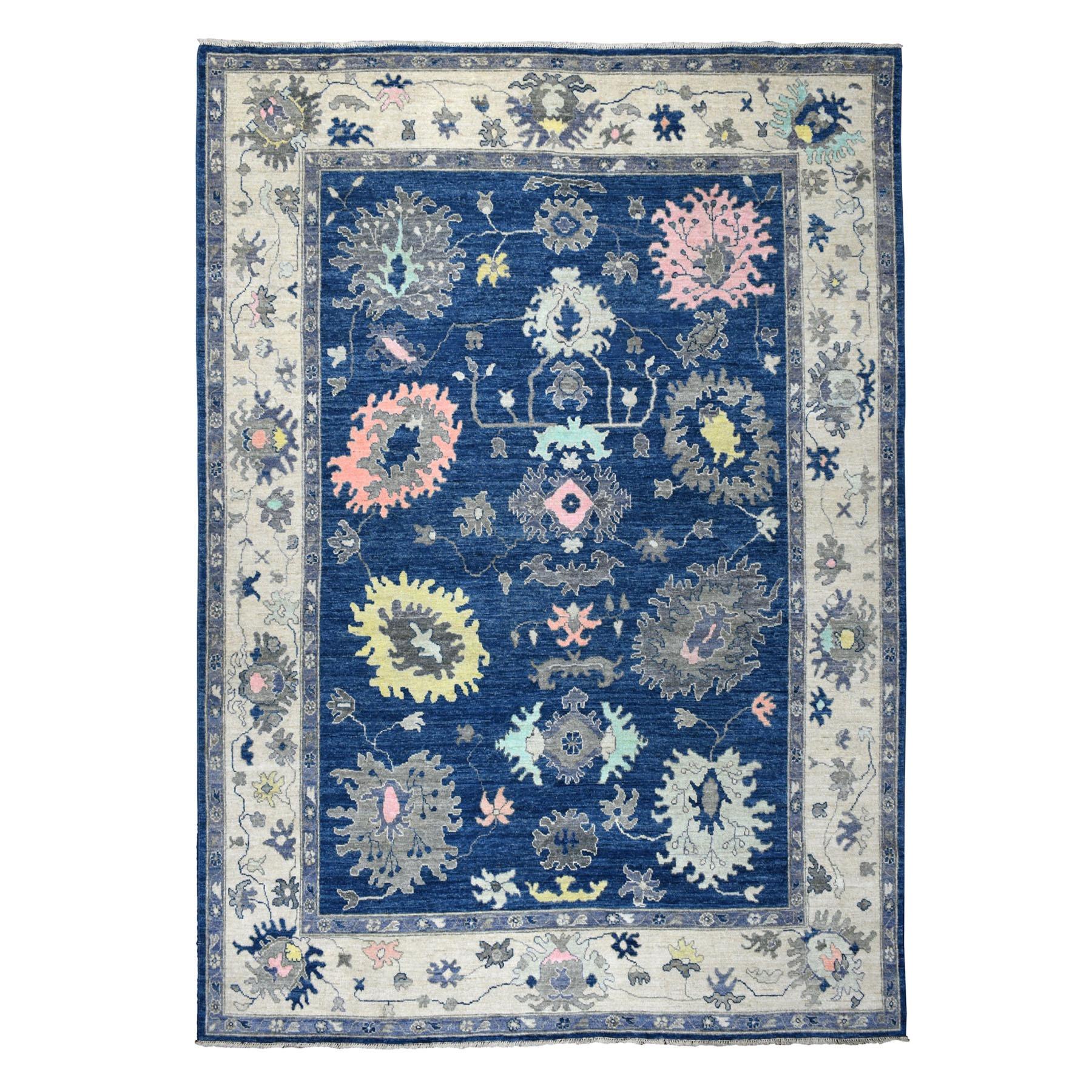"8'10""X12'2 Blue Angora Oushak Pure Wool Hand Knotted Oriental Rug moaeb6e0"