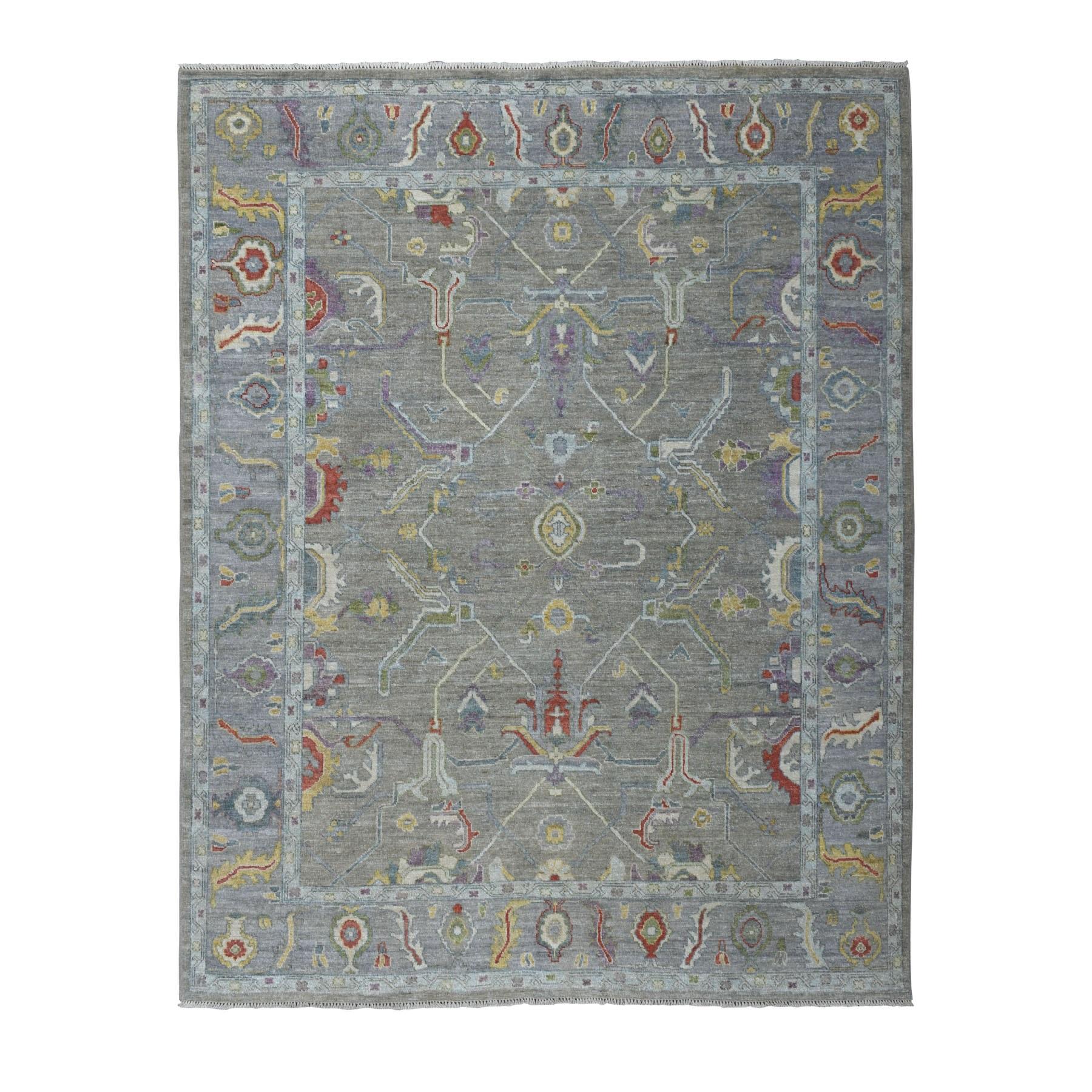 "8'X9'7"" Gray Angora Oushak Pure Wool Hand Knotted Oriental Rug moaeb6ea"
