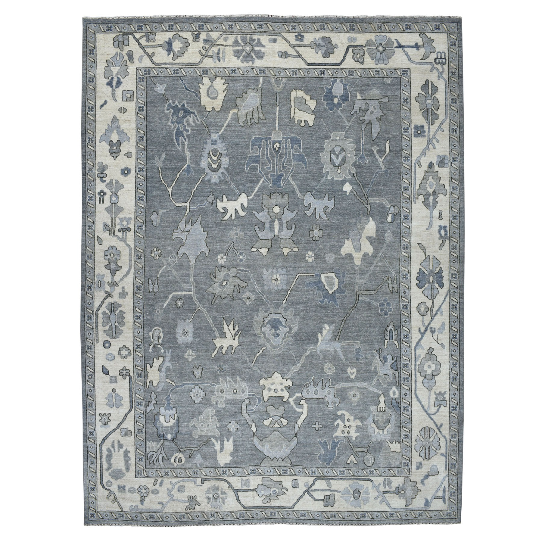"10'x13'4"" Gray Angora Oushak Pure Wool Hand Knotted Oriental Rug"