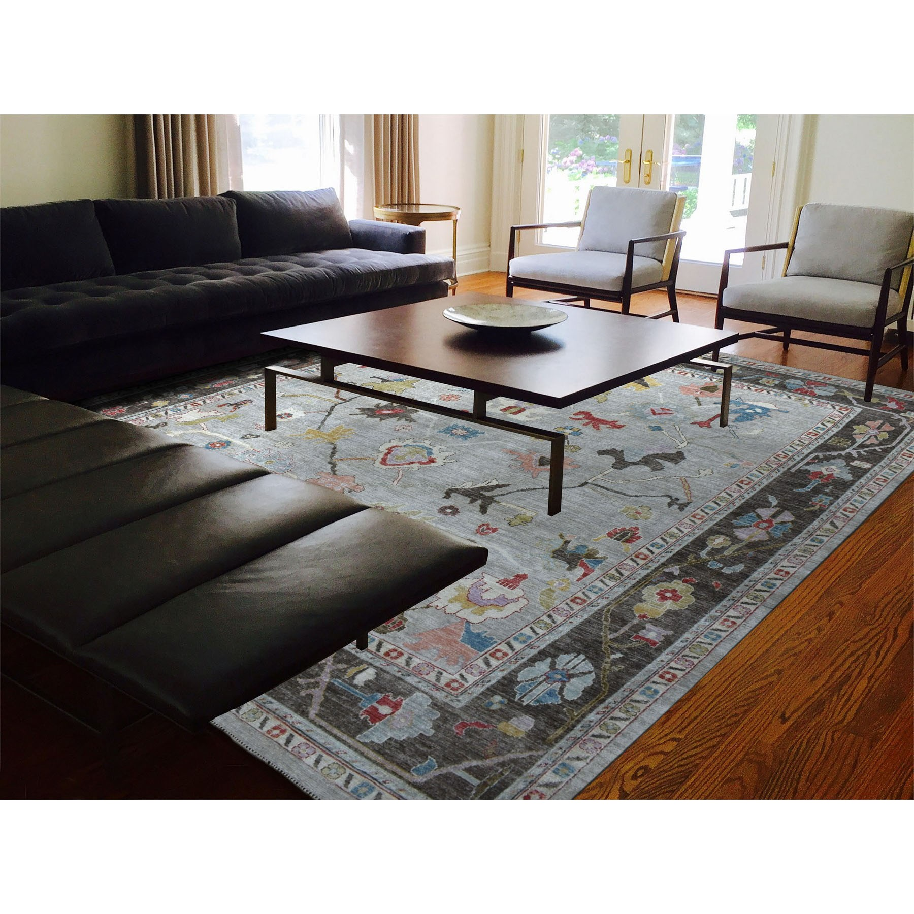 """11'6""""x14'7"""" Gray Angora Oushak Oversize Pure Wool Hand Knotted Oriental Rug"""