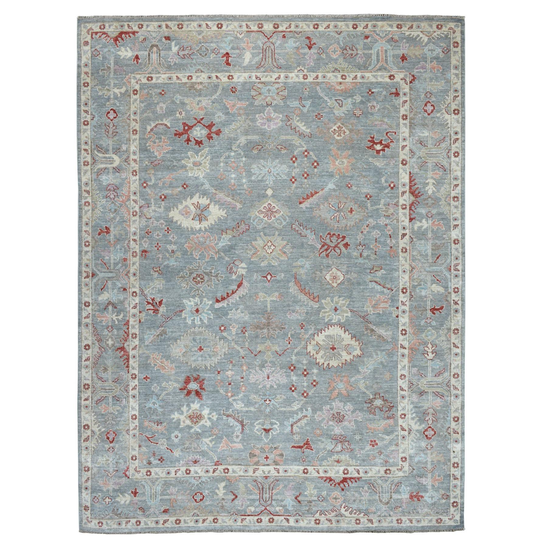 "9'X11'10"" Gray Angora Oushak Pure Wool Hand Knotted Oriental Rug moaeb666"