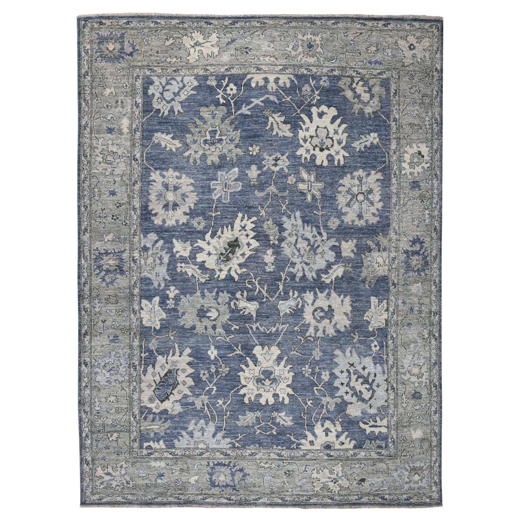 "8'10""X12'3"" Blue Angora Oushak Pure Wool Hand Knotted Oriental Rug moaeb667"