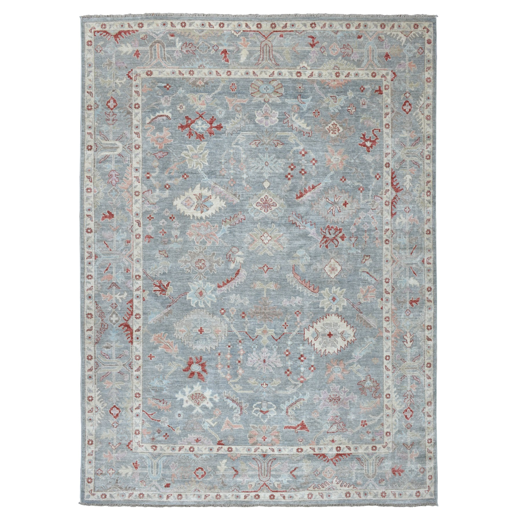 "8'9""X11'10"" Gray Angora Oushak Hand Knotted Pure Wool Oriental Rug moaeb677"
