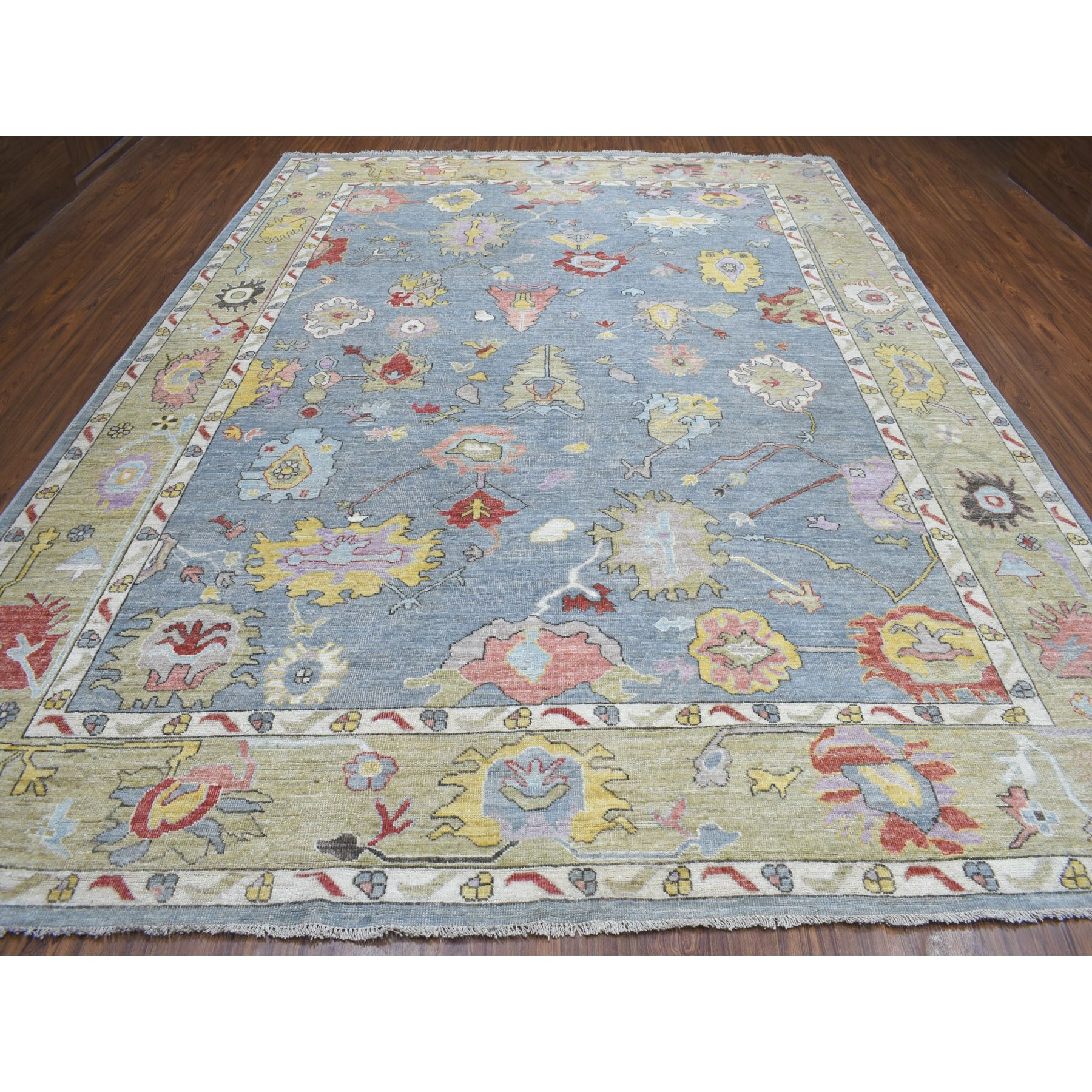 "10'2""x13'4"" Gray Angora Oushak Pure Wool Hand Knotted Oriental Rug"