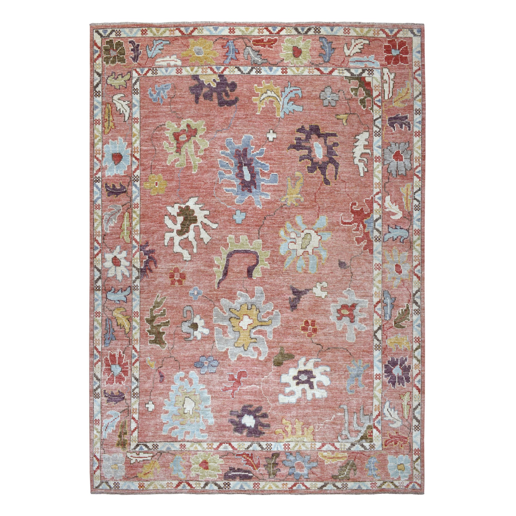 "10'X13'4"" Coral Angora Oushak Hand Knotted Pure Wool Oriental Rug moaeb68b"