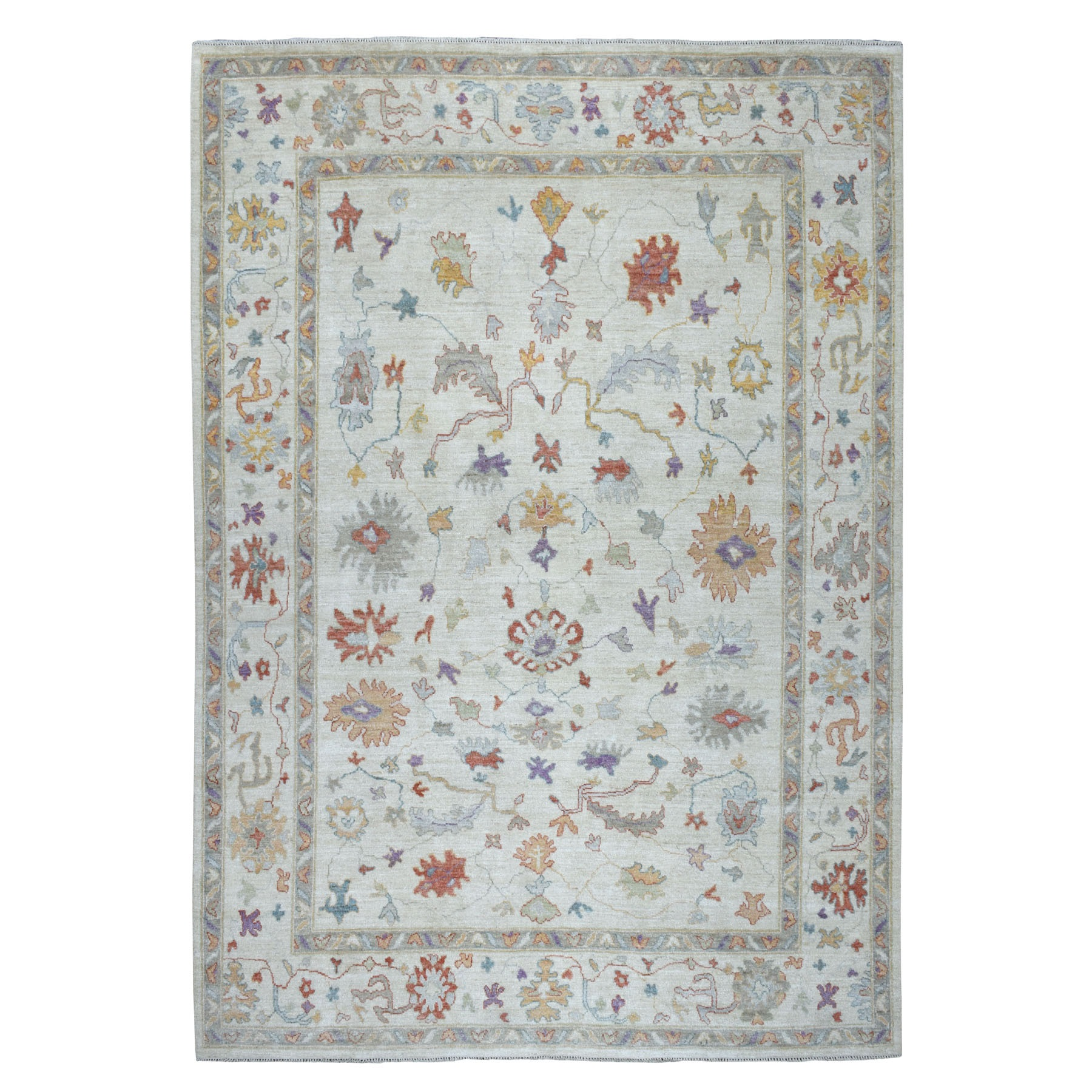 """9'x11'9"""" Ivory Angora Oushak Hand Knotted Pure Wool Oriental Rug 52686"""