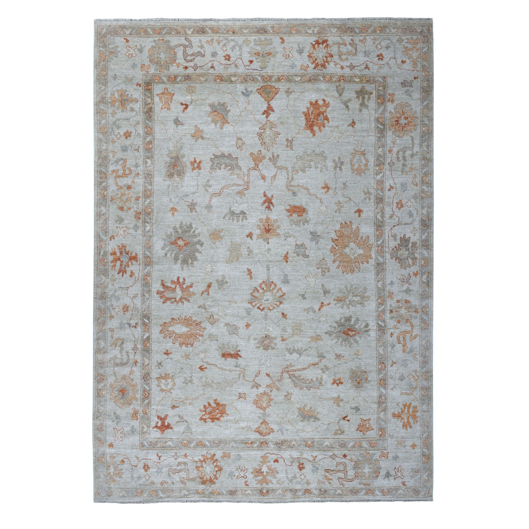 """8'9""""x11'5"""" Ivory Angora Oushak Pure Wool Hand Knotted Oriental Rug 52688"""