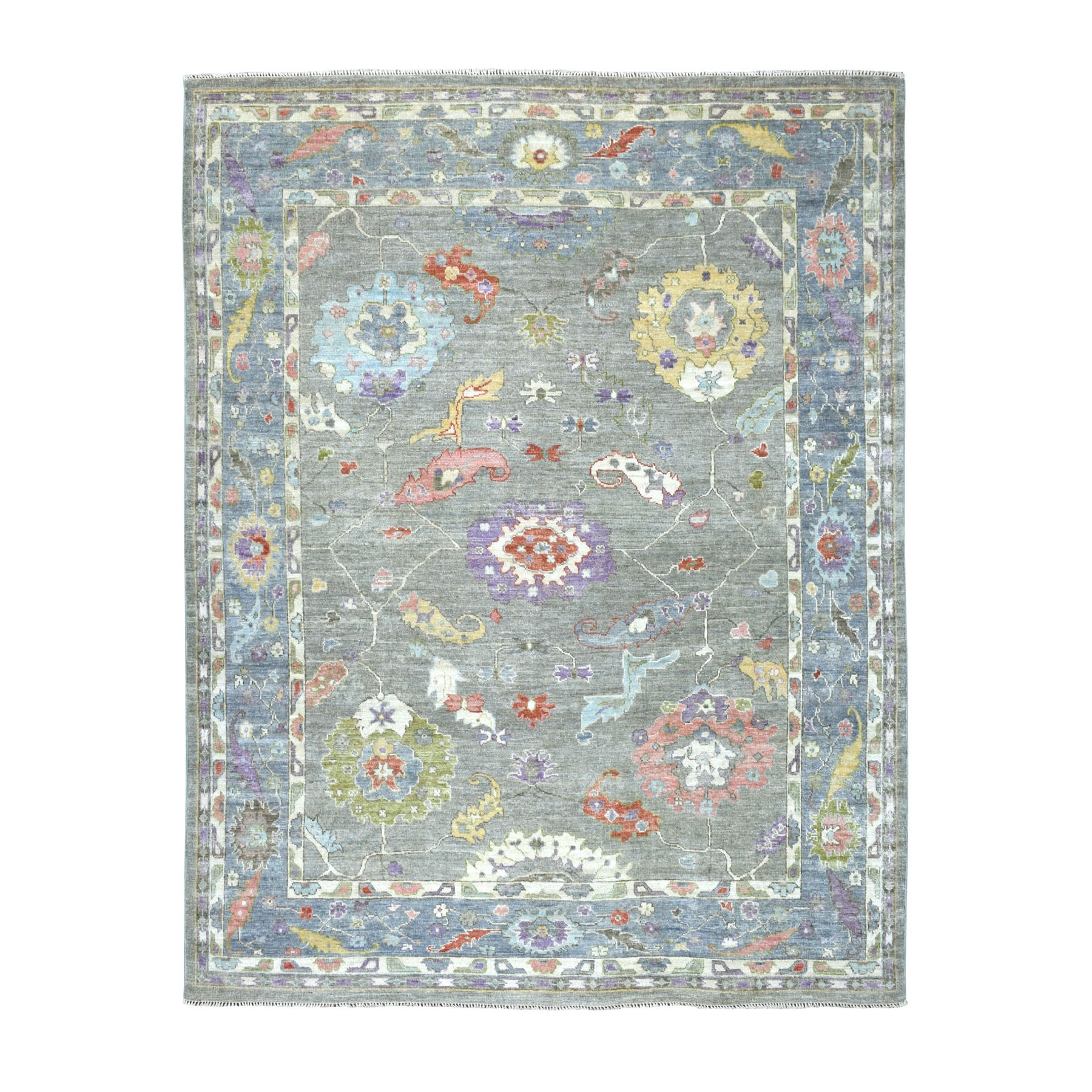 "7'10""x9'10"" Gray Angora Oushak Pure Wool Hand Knotted Oriental Rug"