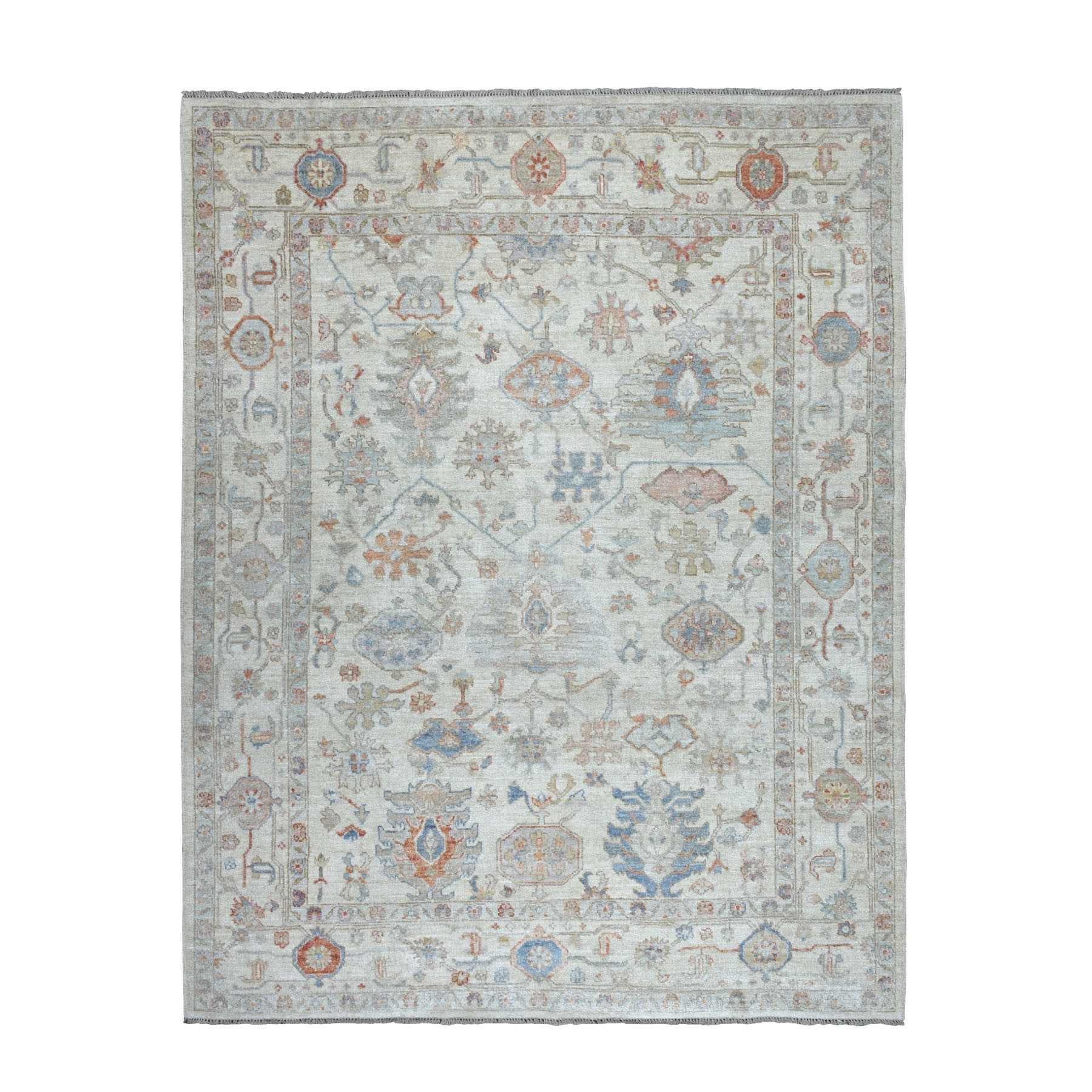 8'x10' Ivory Angora Oushak Pure Wool Hand Knotted Oriental Rug