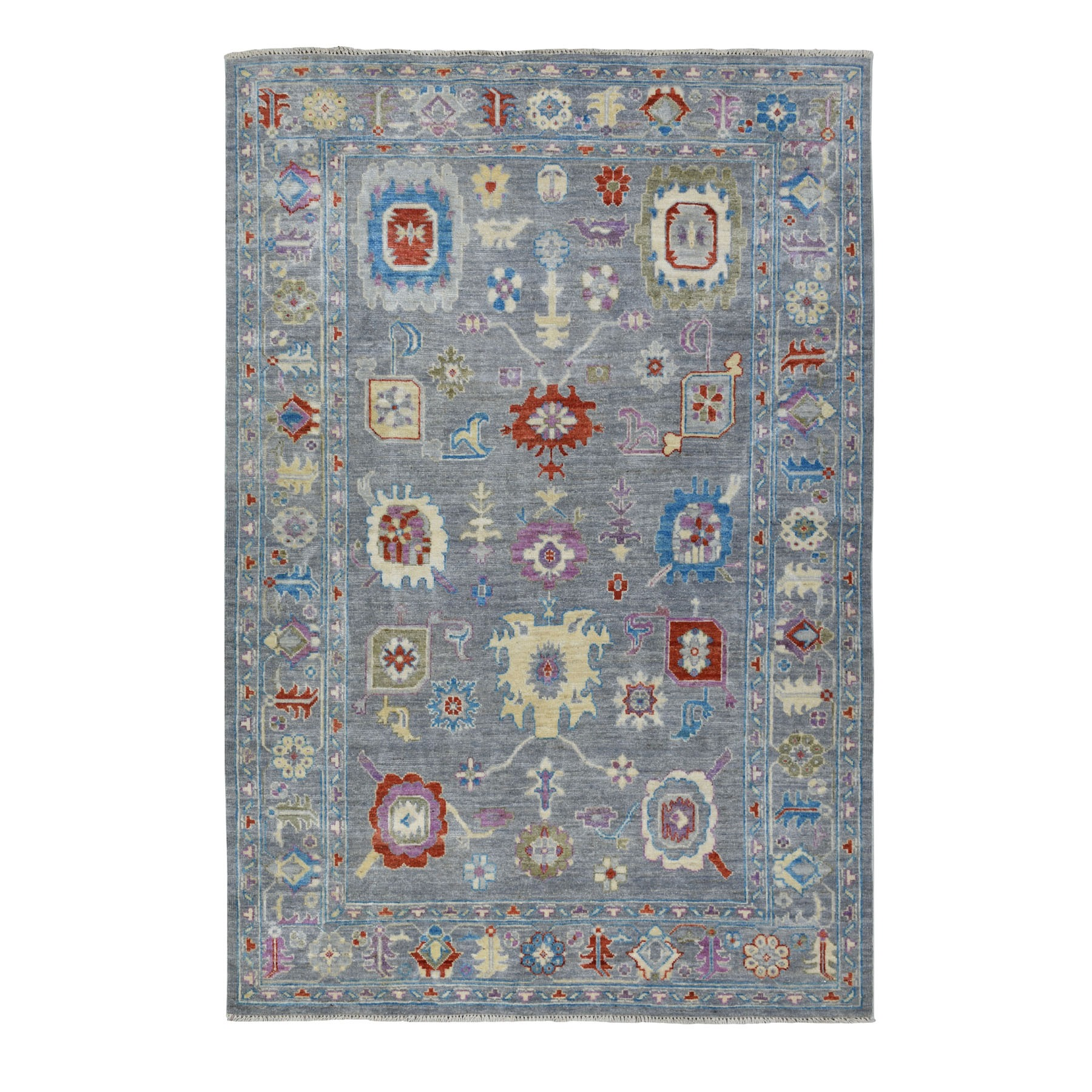 """5'9""""x8'7"""" Gray Angora Oushak Pure Wool Hand Knotted Oriental Rug 52696"""
