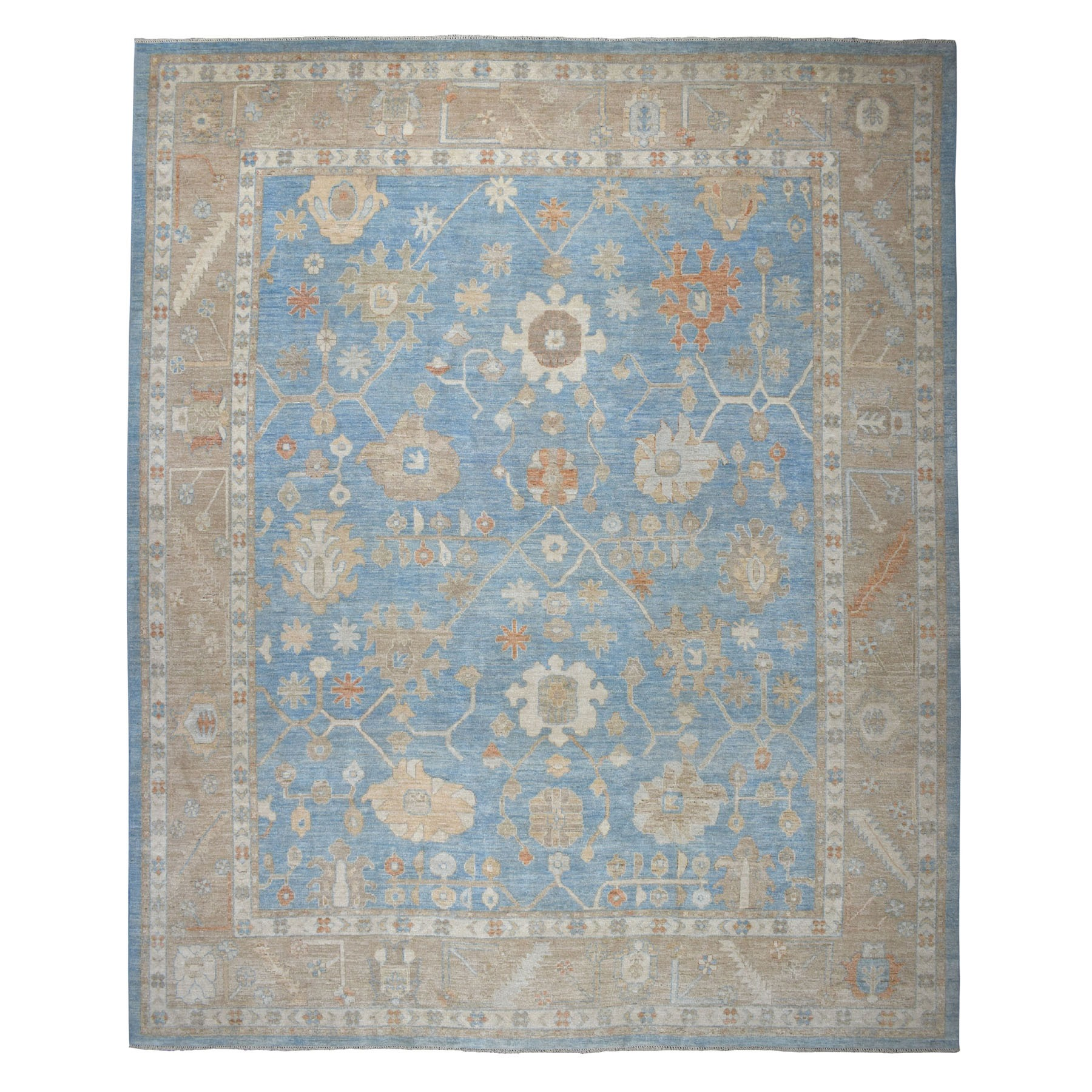 "11'9""X14'6"" Oversized Blue Angora Oushak Pure Wool Hand Knotted Oriental Rug moaeb697"