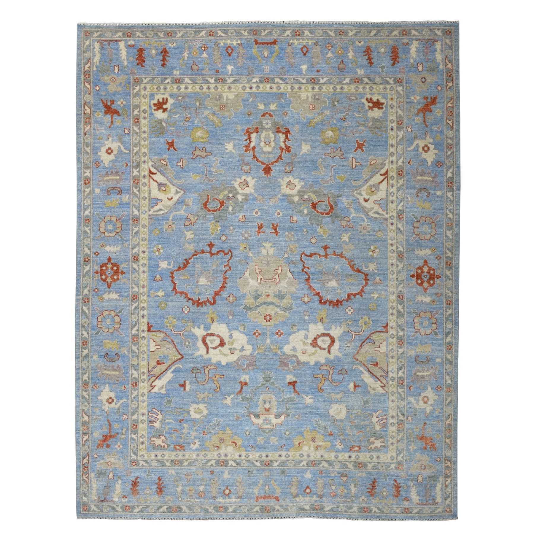 """9'x11'7"""" Blue Angora Oushak Pure Wool Hand Knotted Oriental Rug"""