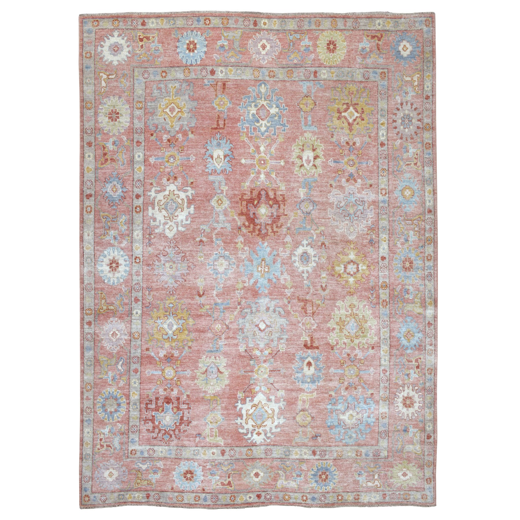 """8'10""""X12'1"""" Coral Angora Oushak Hand Knotted Pure Wool Oriental Rug moaeb699"""