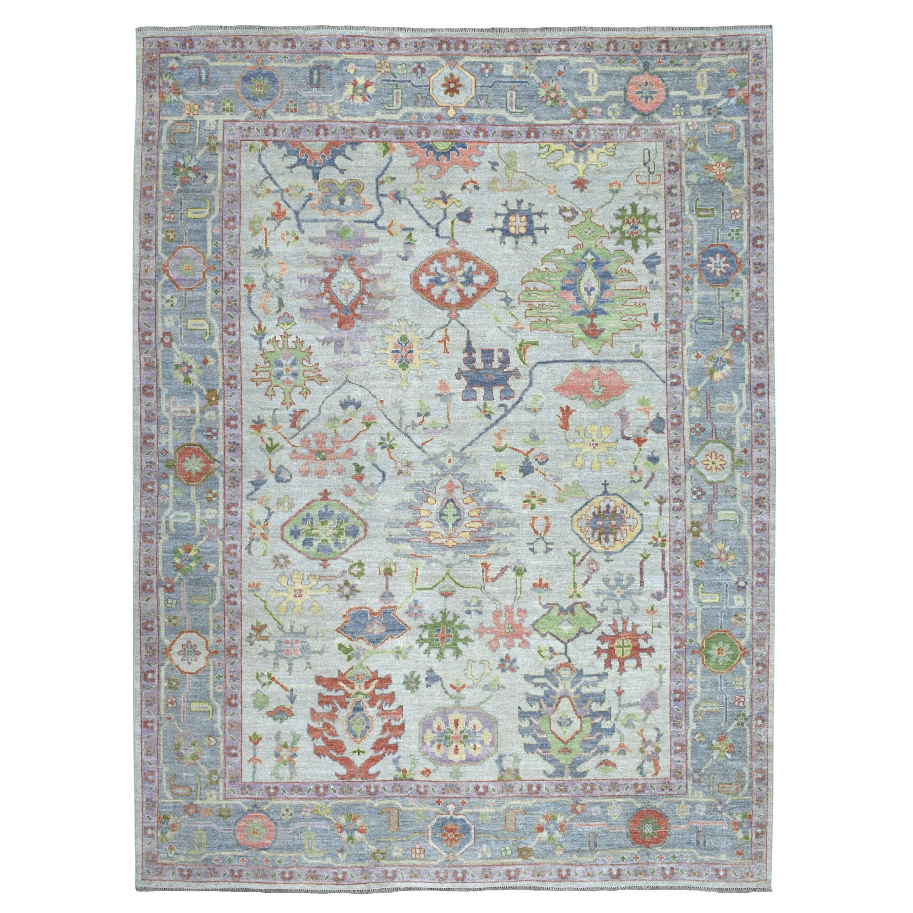 "9'2""X11'5"" Gray Angora Oushak Pure Wool Hand Knotted Oriental Rug moaeb700"