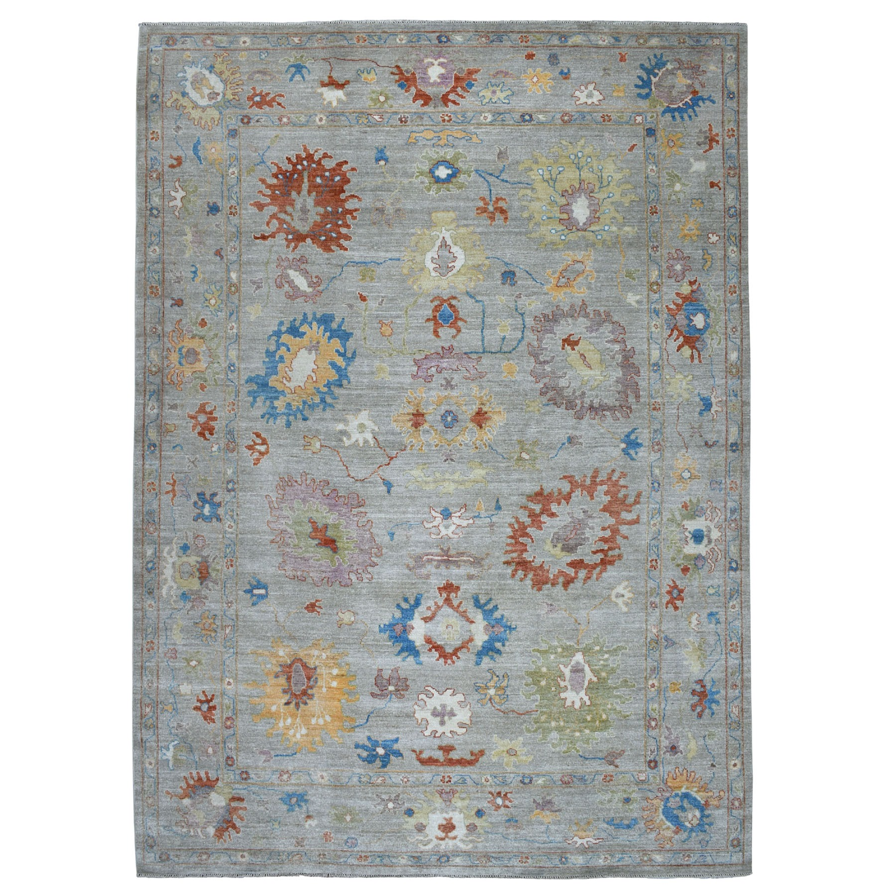 """10'1""""x13'9"""" Gray Angora Oushak Pure Wool Hand Knotted Oriental Rug 52701"""