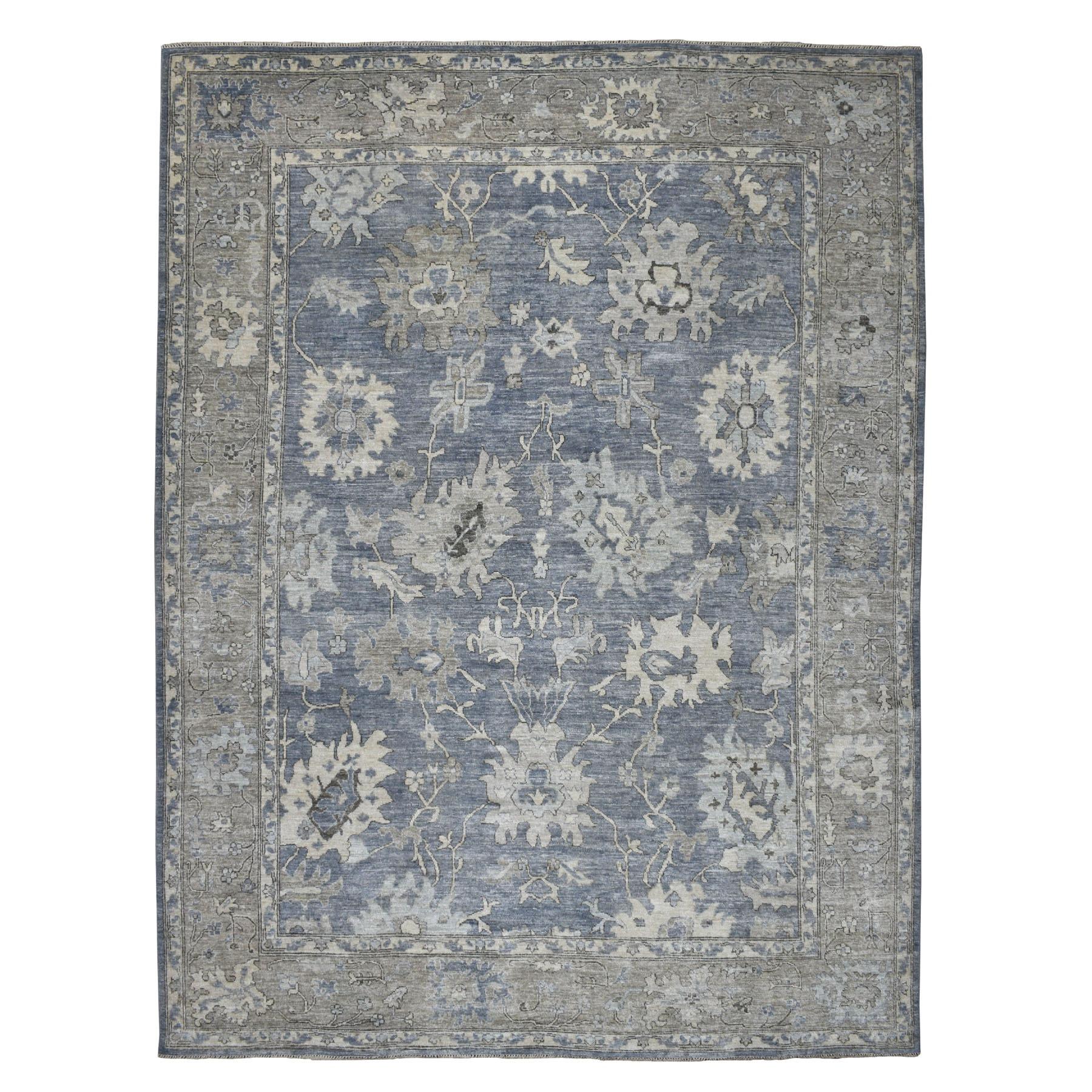 "10'1""X13'3"" Gray Angora Oushak Pure Wool Hand Knotted Oriental Rug moaeb70c"