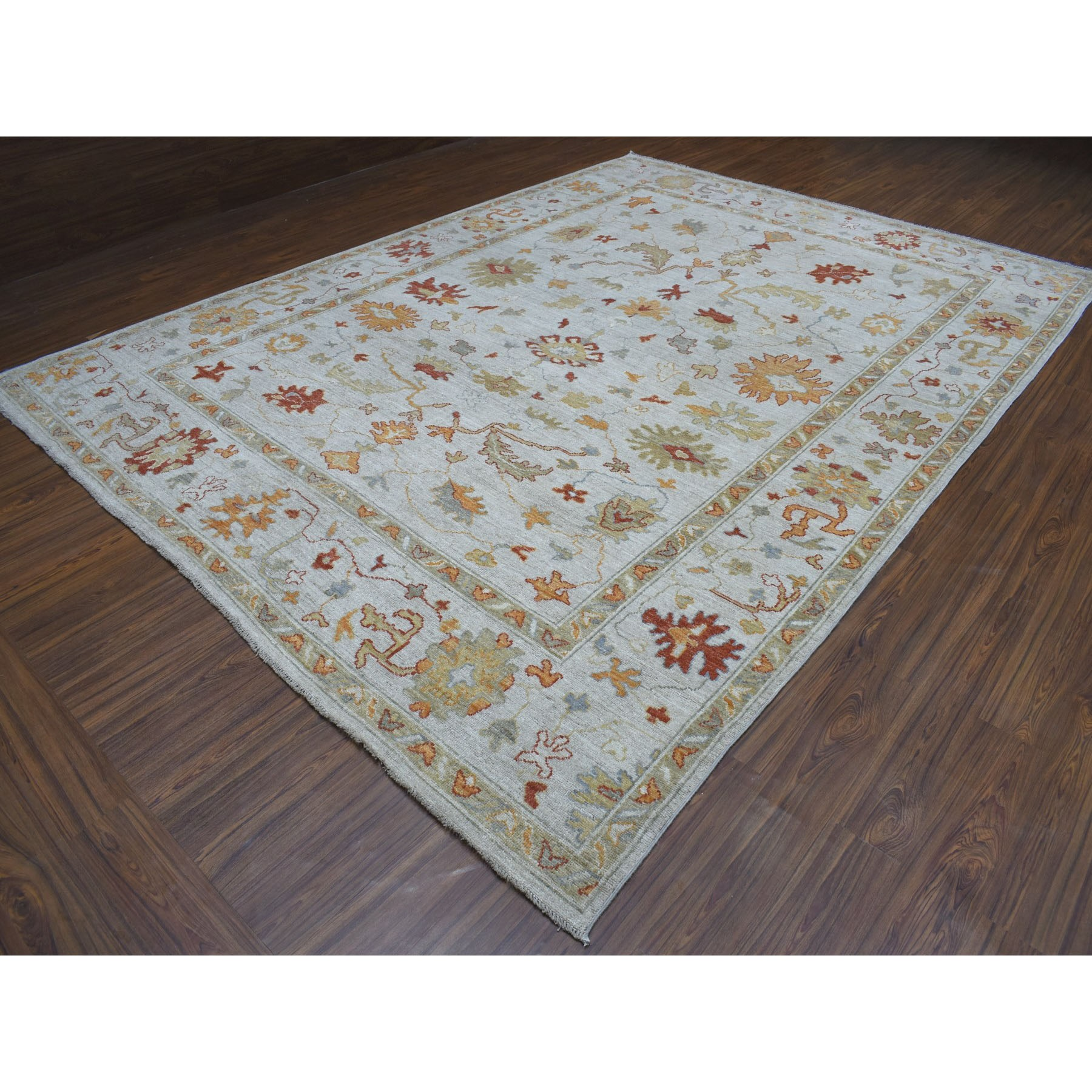 """9'10""""x13'4"""" Gray Angora Oushak Pure Wool Hand Knotted Oriental Rug"""