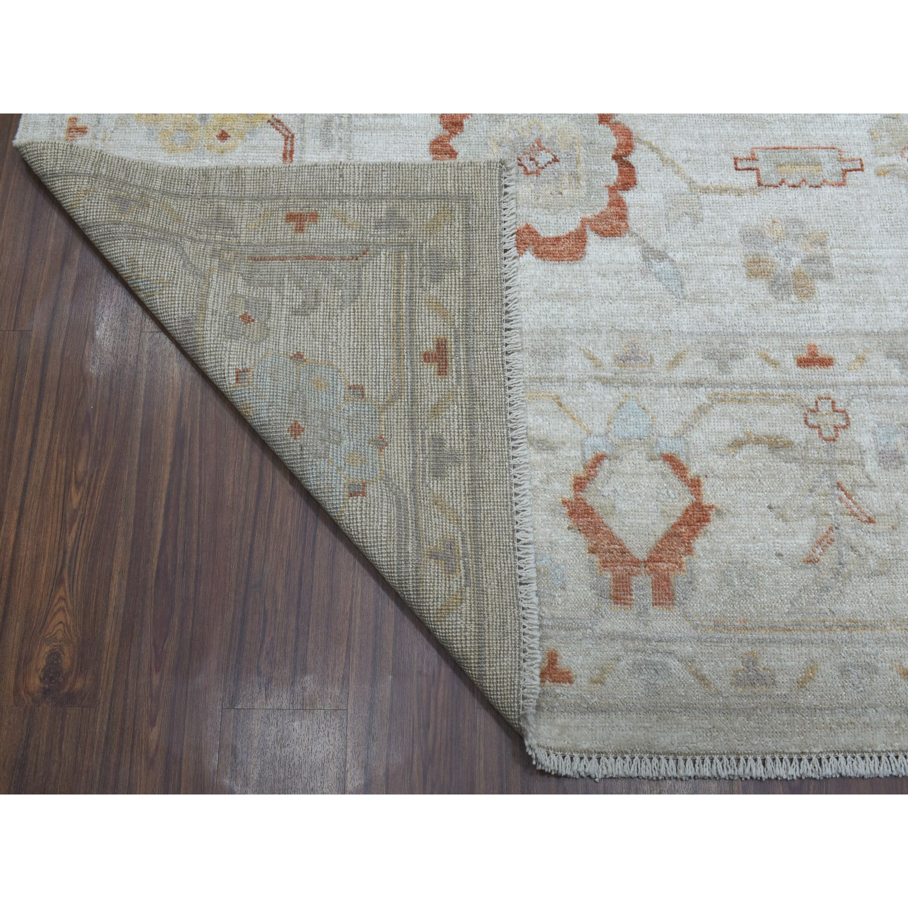 9-3 x12- Ivory Angora Oushak Pure Wool Hand Knotted Oriental Rug