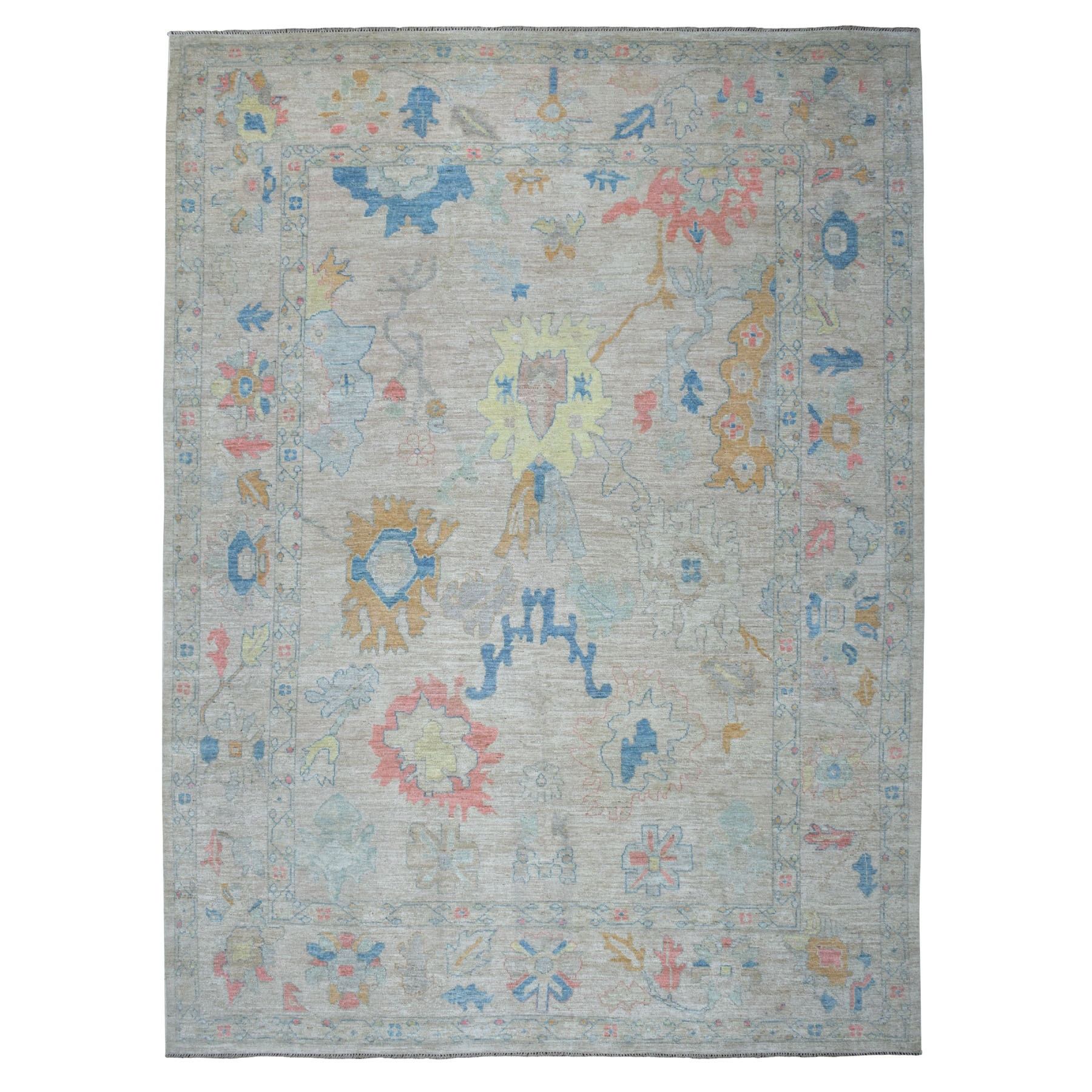 """9'9""""x13'6"""" Ivory Angora Oushak Pure Wool Hand Knotted Oriental Rug 52725"""