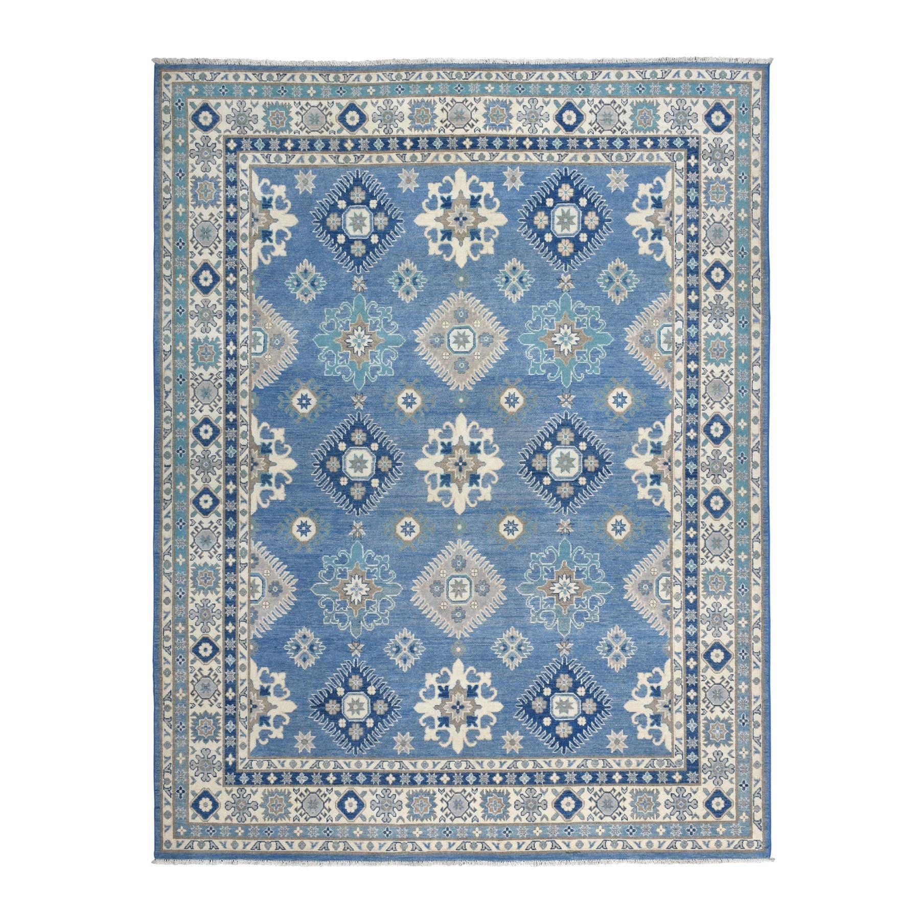 "7'9""X10' Blue Vintage Look Kazak Tribal Design Pure Wool Hand Knotted Oriental Rug moaeb7ce"
