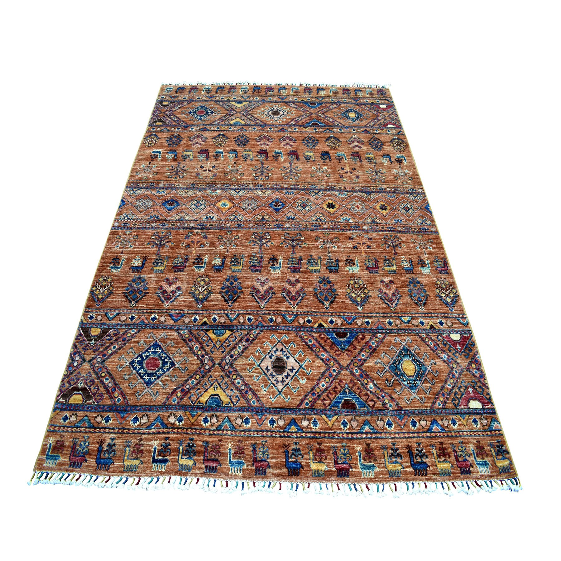"5'7""X7'9"" Khorjin Design Brown Super Kazak Pure Wool Hand Knotted Oriental Rug moaeb7d0"