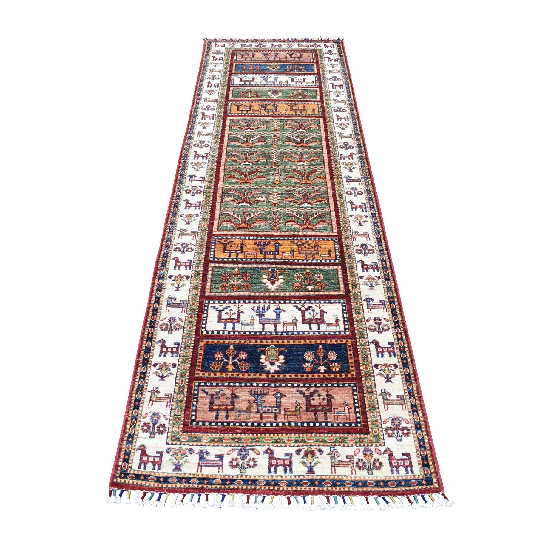 """2'9""""X9'1"""" Khorjin Design Runner Red Super Kazak Pictorial Hand Knotted Pure Wool Oriental Rug  moaeb7dd"""