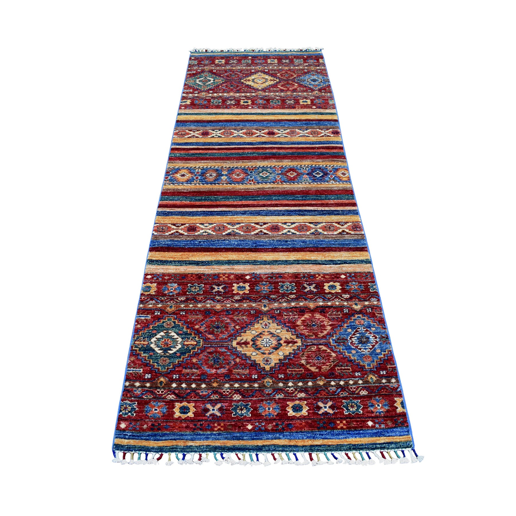 "2'8""X8'5"" Khorjin Design Runner Red Super Kazak Geometric Hand Knotted Pure Wool Oriental Rug moaeb7d6"