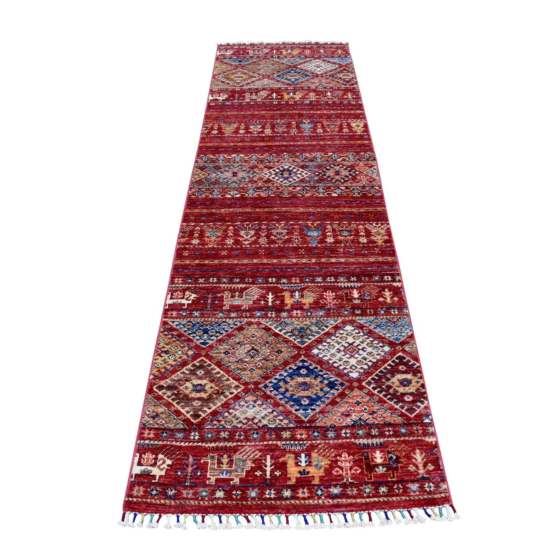 "2'7""X9'8"" Khorjin Design Runner Red Super Kazak Geometric Hand Knotted Pure Wool Oriental Rug moaeb7d8"