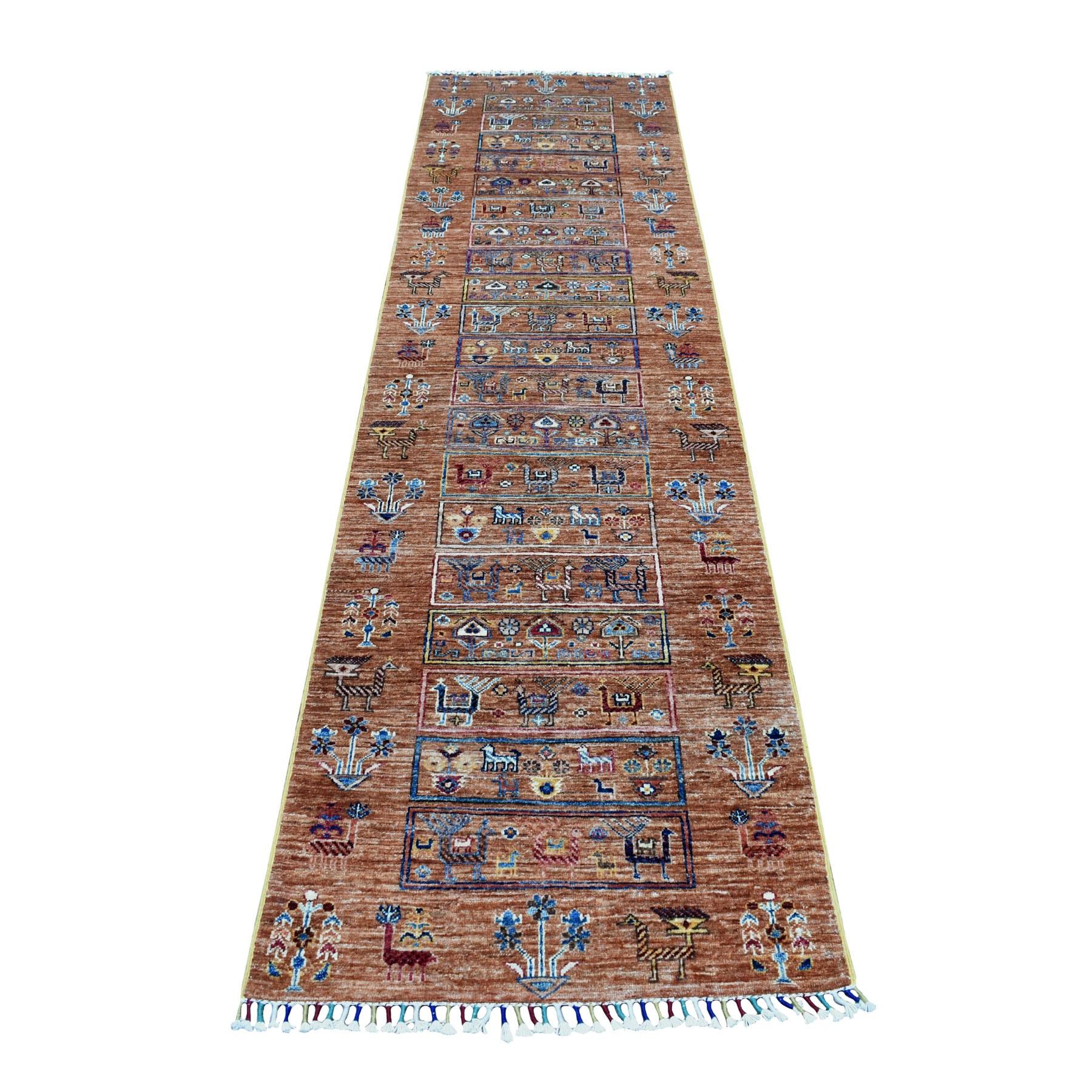 "2'7""X9'8"" Brown Kashkuli Design Runner Super Kazak Pictorial Hand Knotted Pure Wool Oriental Rug moaeb7d9"