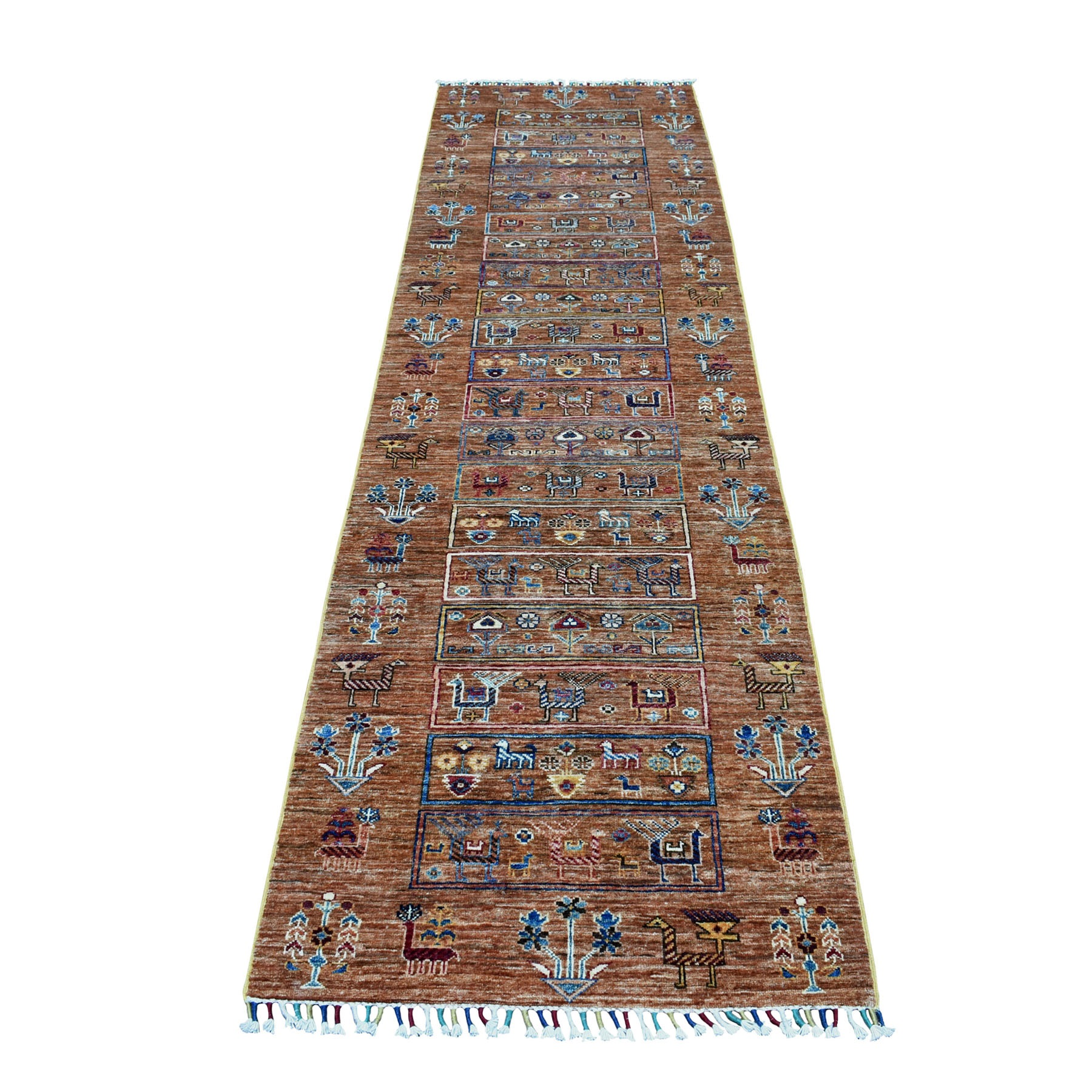 "2'8""X9'6"" Brown Kashkuli Design Runner Super Kazak Geometric Hand Knotted Pure Wool Oriental Rug moaeb7ec"