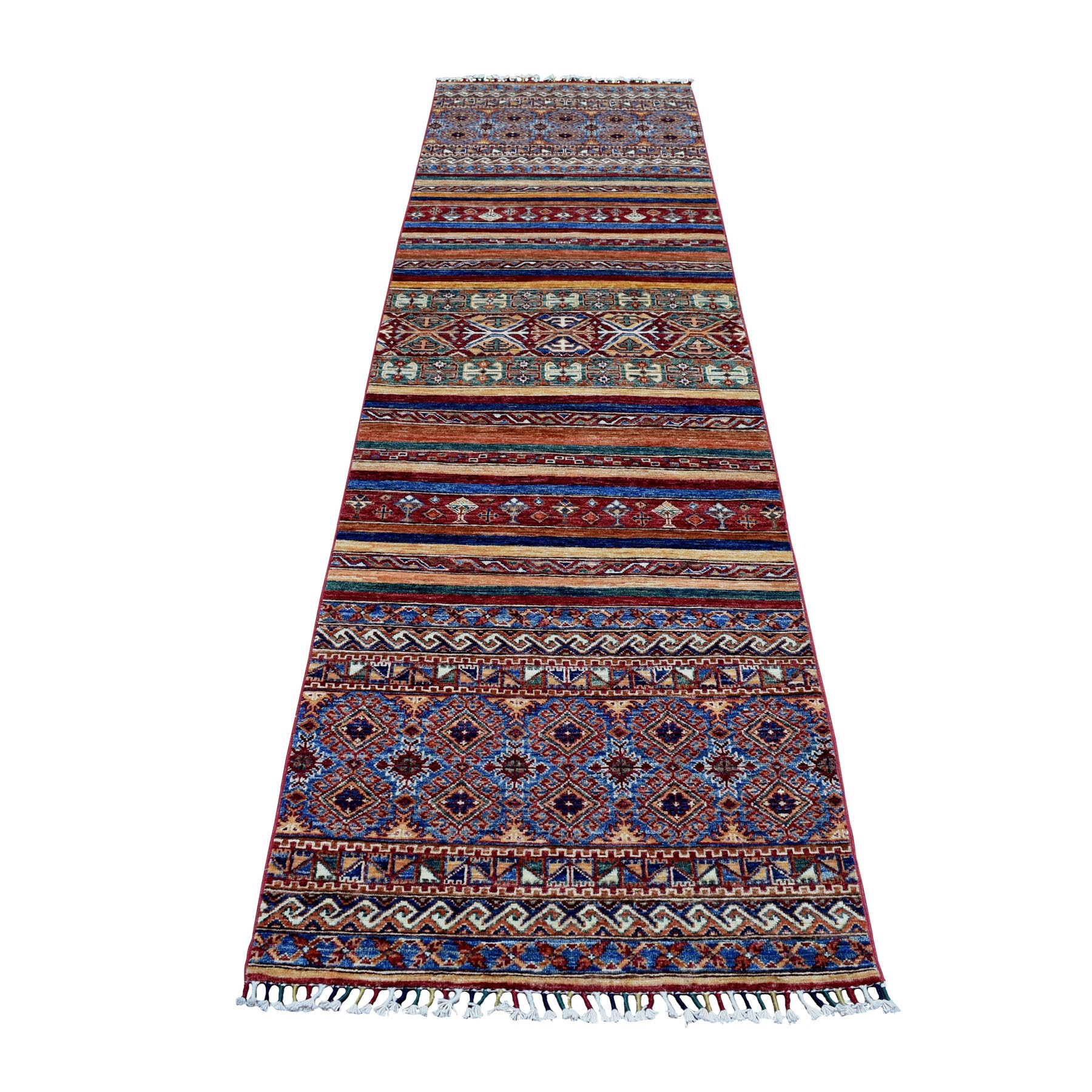 "2'9""x10'1"" Khorjin Design Runner Red Super Kazak Geometric Pure Wool Hand Knotted Oriental Rug 52754"