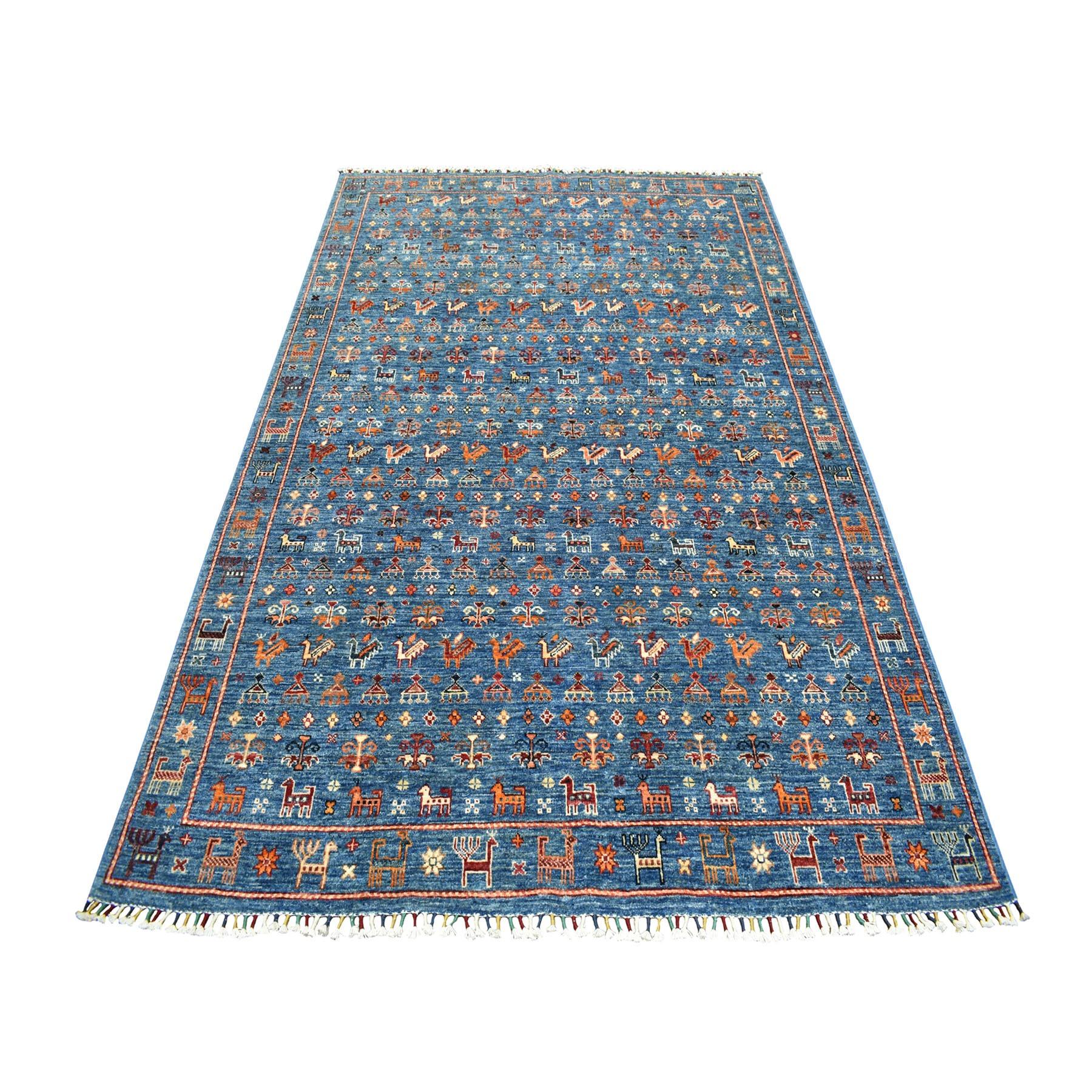 "5'6""X8' Khorjin Design Blue Super Kazak Pictorial Hand Knotted Pure Wool Oriental Rug moaeb760"