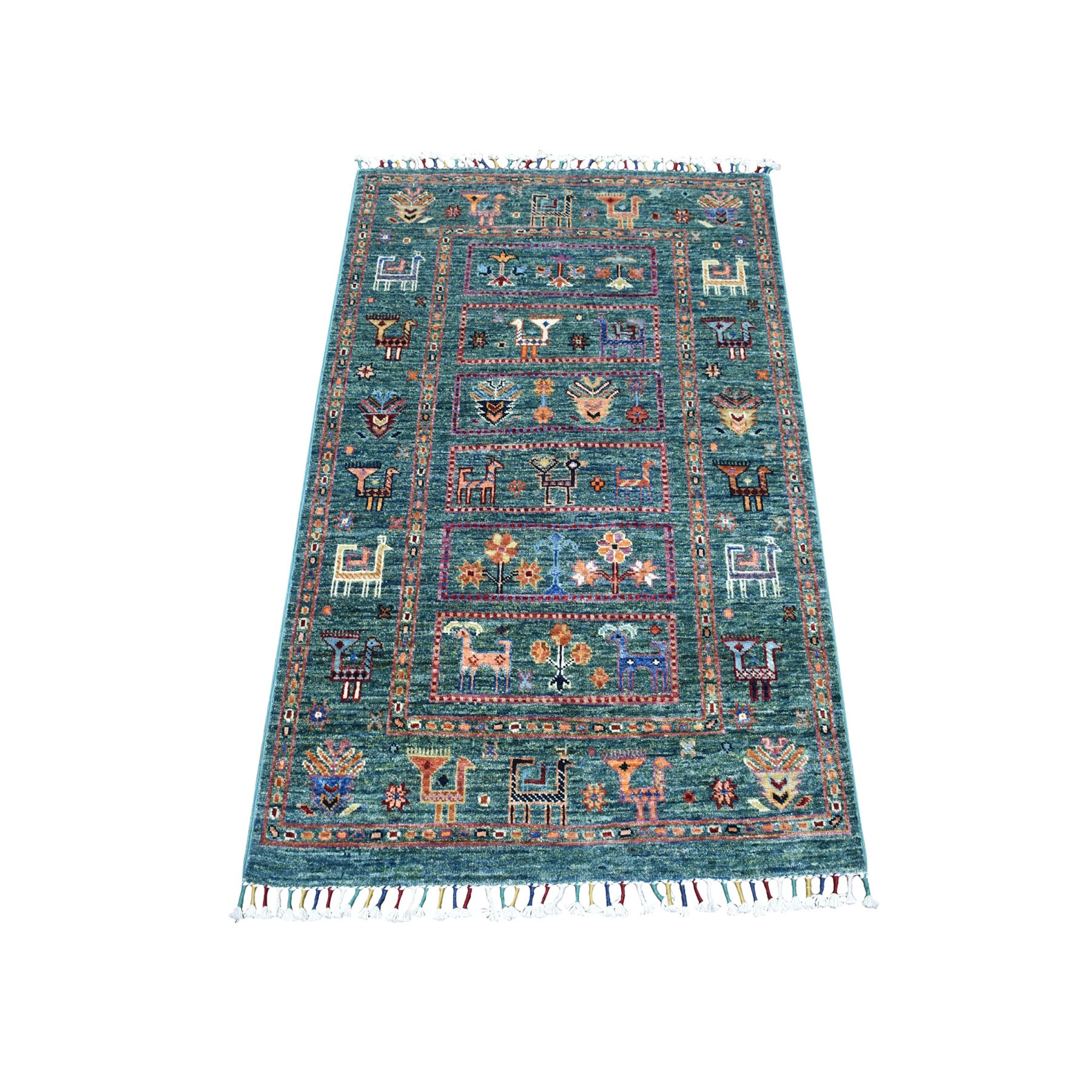 "2'8""X4' Teal Kashkuli Design Super Kazak Pictorial Hand Knotted Pure Wool Oriental Rug moaeb76c"